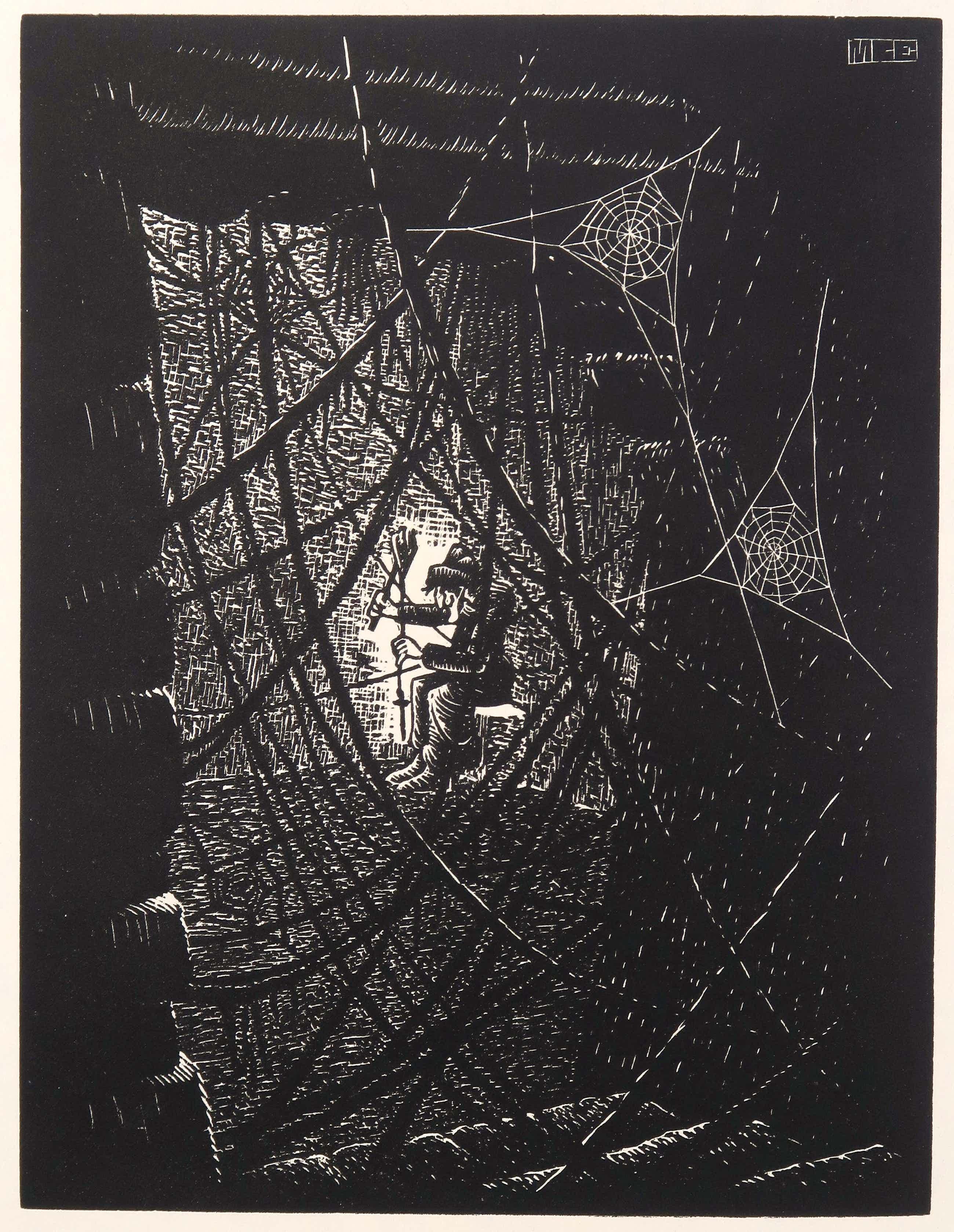 M.C. Escher - Houtgravure, Spinrag (incl. gedicht van A.E. Drijfhout en twee andere werken) kopen? Bied vanaf 305!