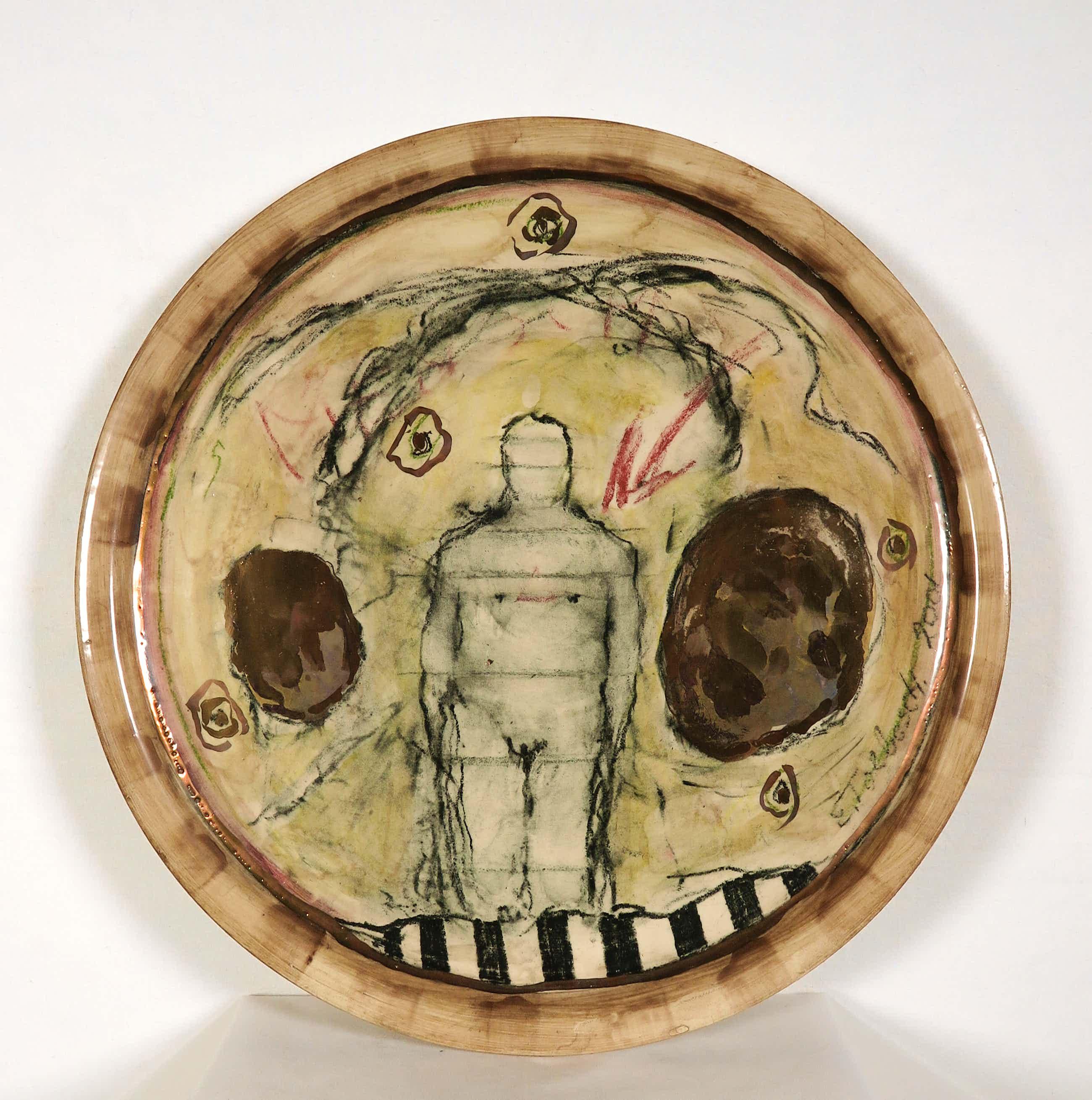 Eric Toebosch - Grote handbeschilderde schaal, Individu kopen? Bied vanaf 100!