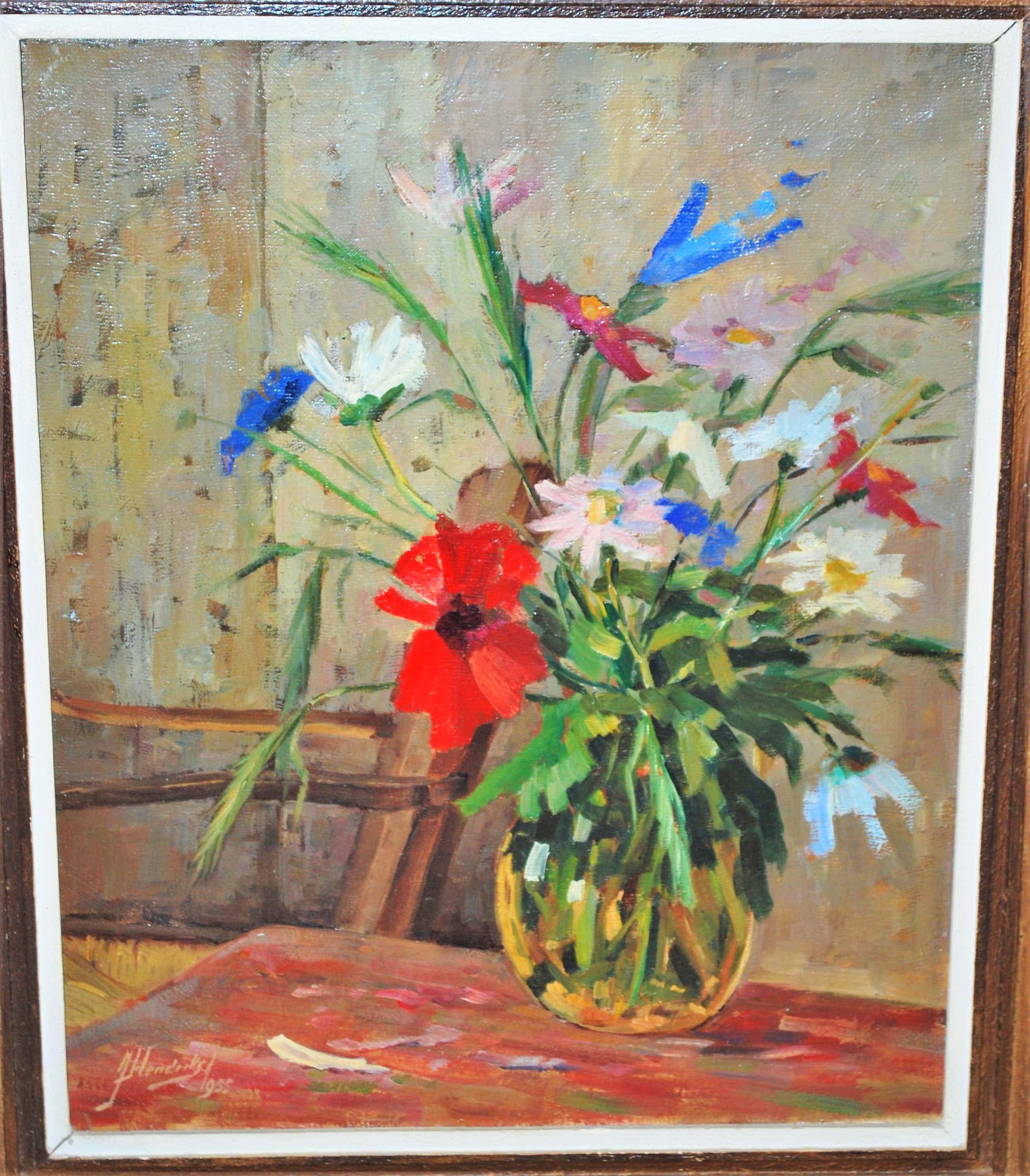 Jan Hendriks - Een glazen vaas met wilde bloemen kopen? Bied vanaf 110!
