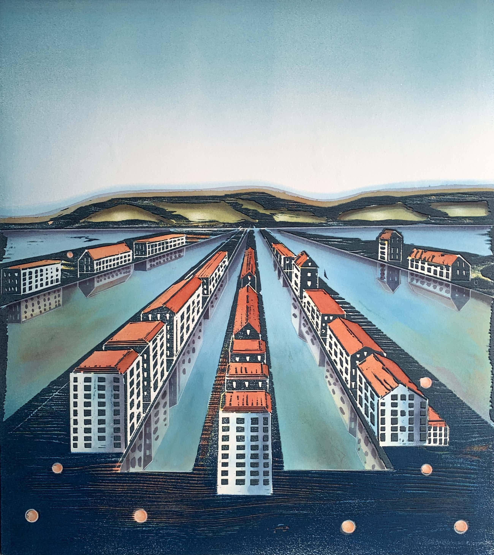 Willem de Vries - Houtsnede | 'Town-centre II' | 1999 kopen? Bied vanaf 75!