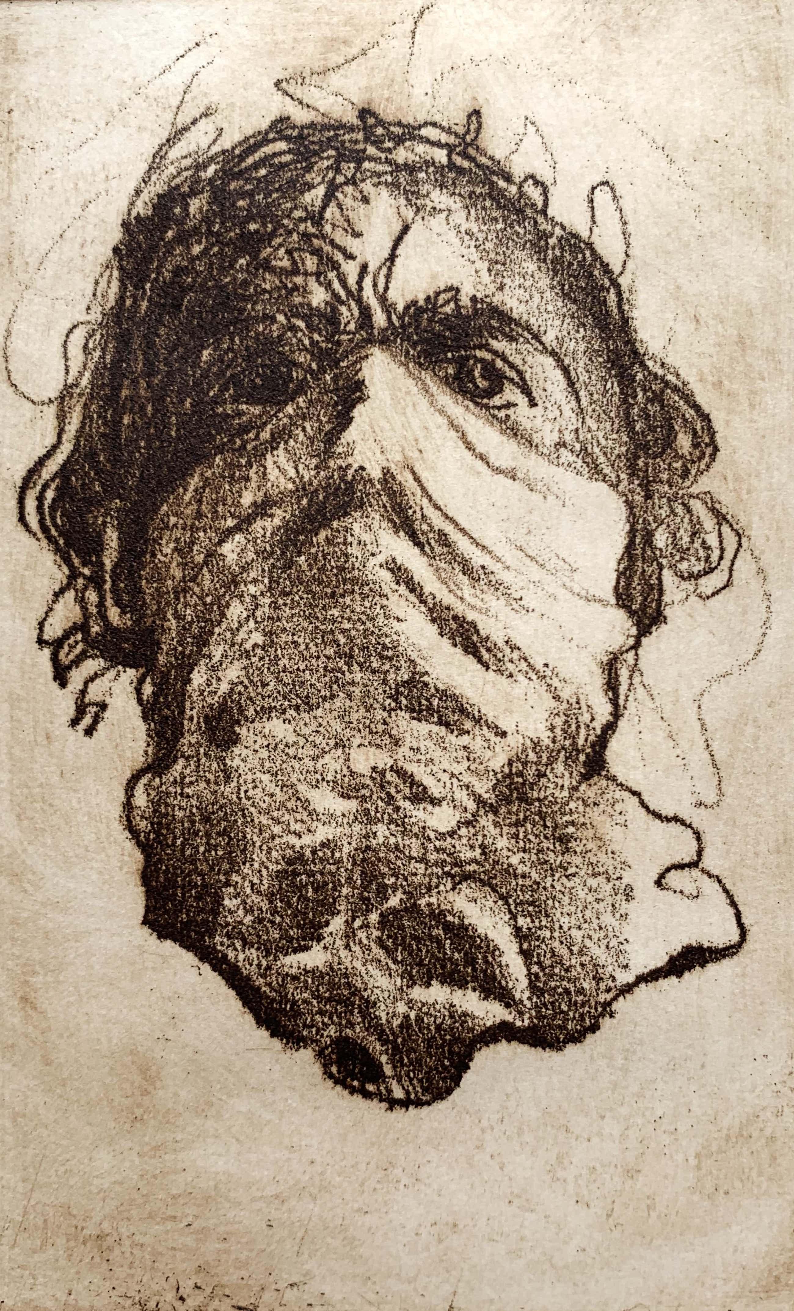 Ronald Tolman - handgesigneerde ets - 'Zelfportret met masker' - 1980 (ZEER KLEINE OPLAGE) kopen? Bied vanaf 160!