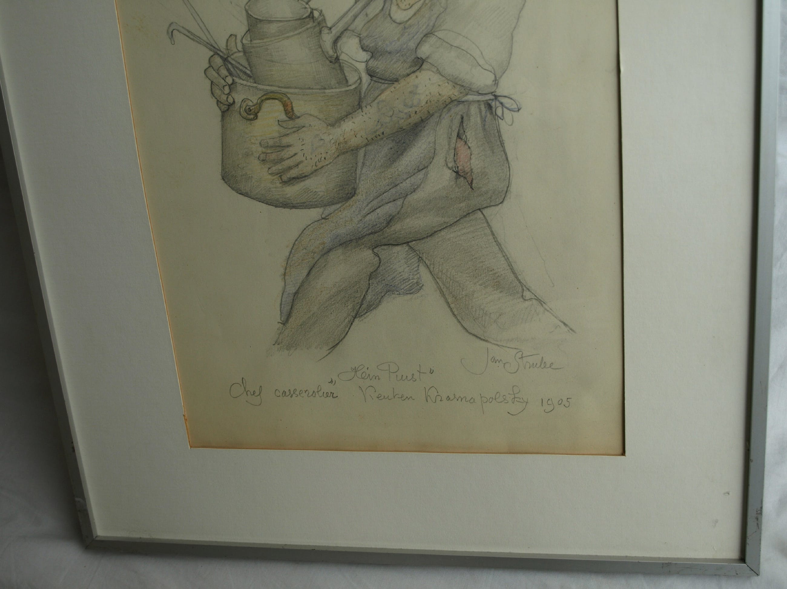 "Jan Strube - Tekening uit 1905 , Casserolier Hotel Krasnapolsky ""Hein Puist"" kopen? Bied vanaf 600!"