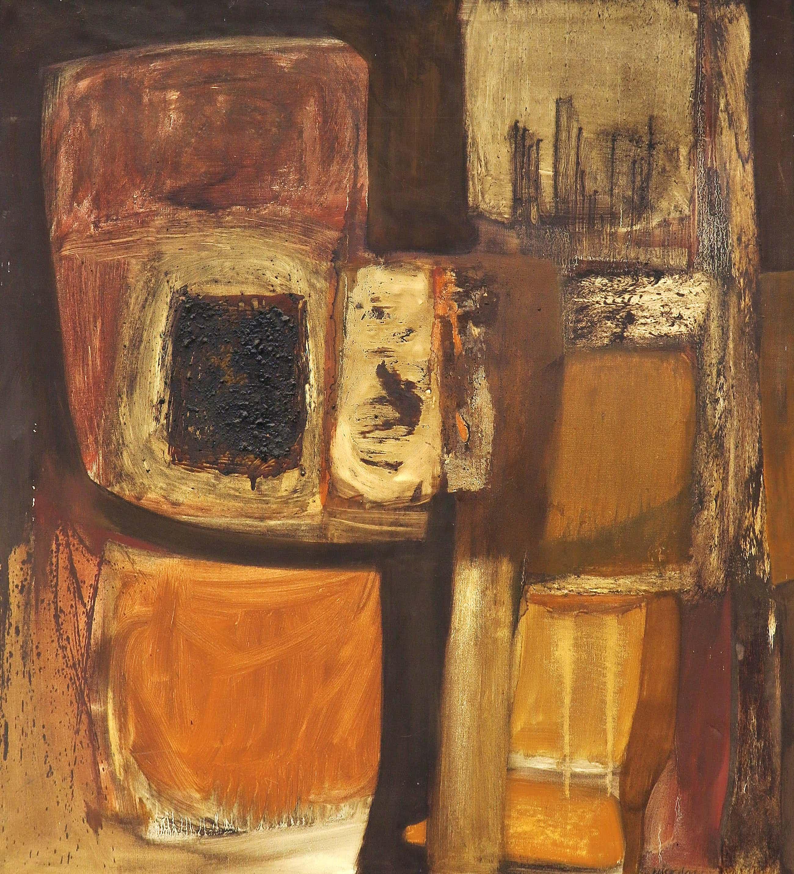 Frans Nicolai - Gemengde techniek op doek, Abstracte compositie kopen? Bied vanaf 130!