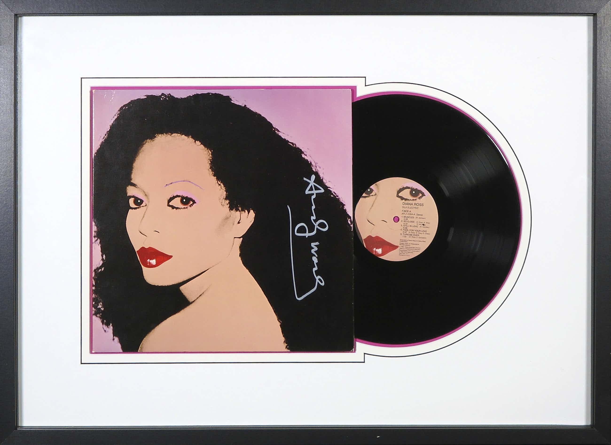 Andy Warhol - Handgesigneerde LP-hoes album Silk Electric van Diana Ross- Ingelijst kopen? Bied vanaf 775!
