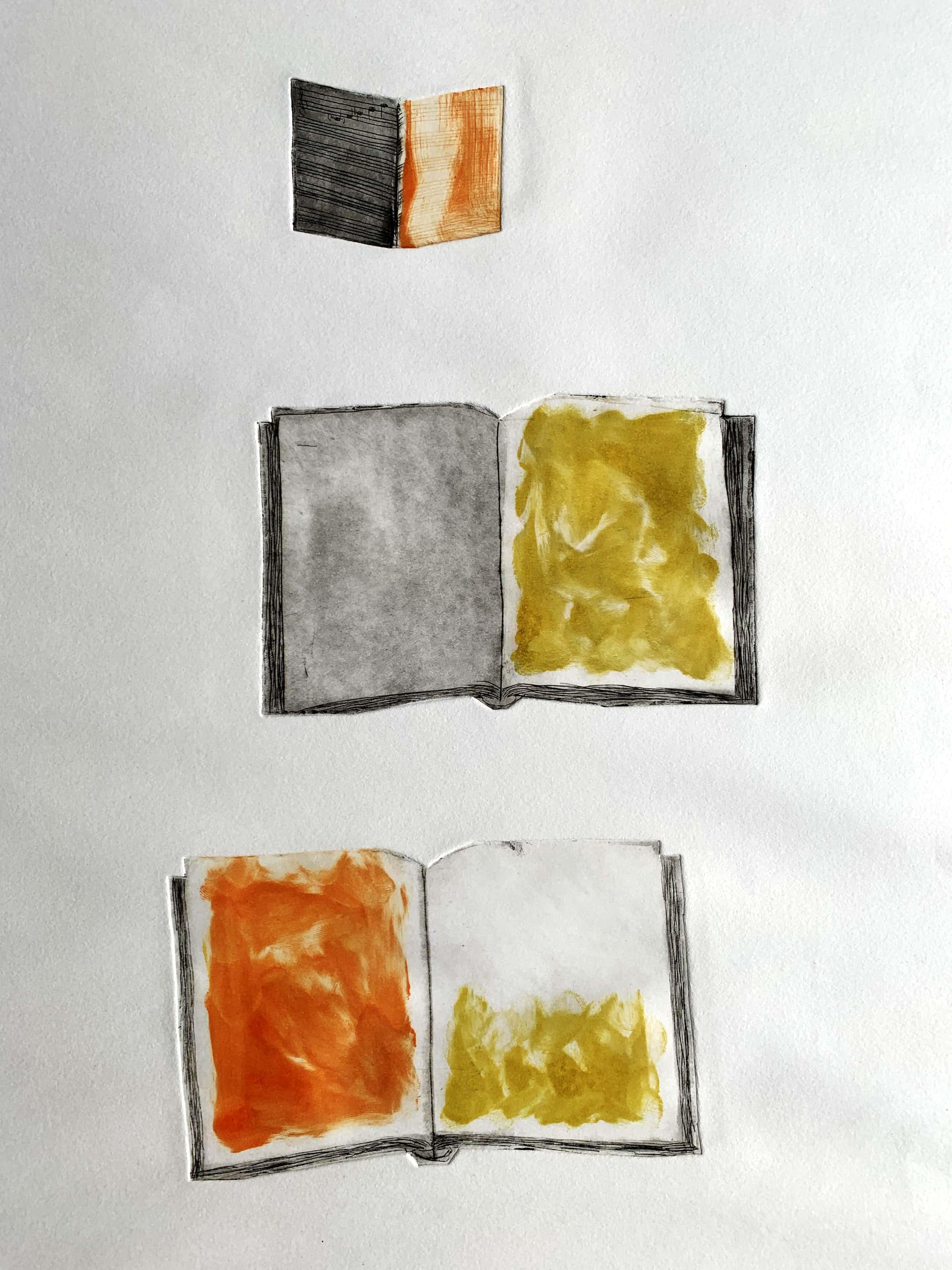 Leon Adriaans - Handgekleurde ets   'Boeken'   1985 (Uniek werk) kopen? Bied vanaf 250!
