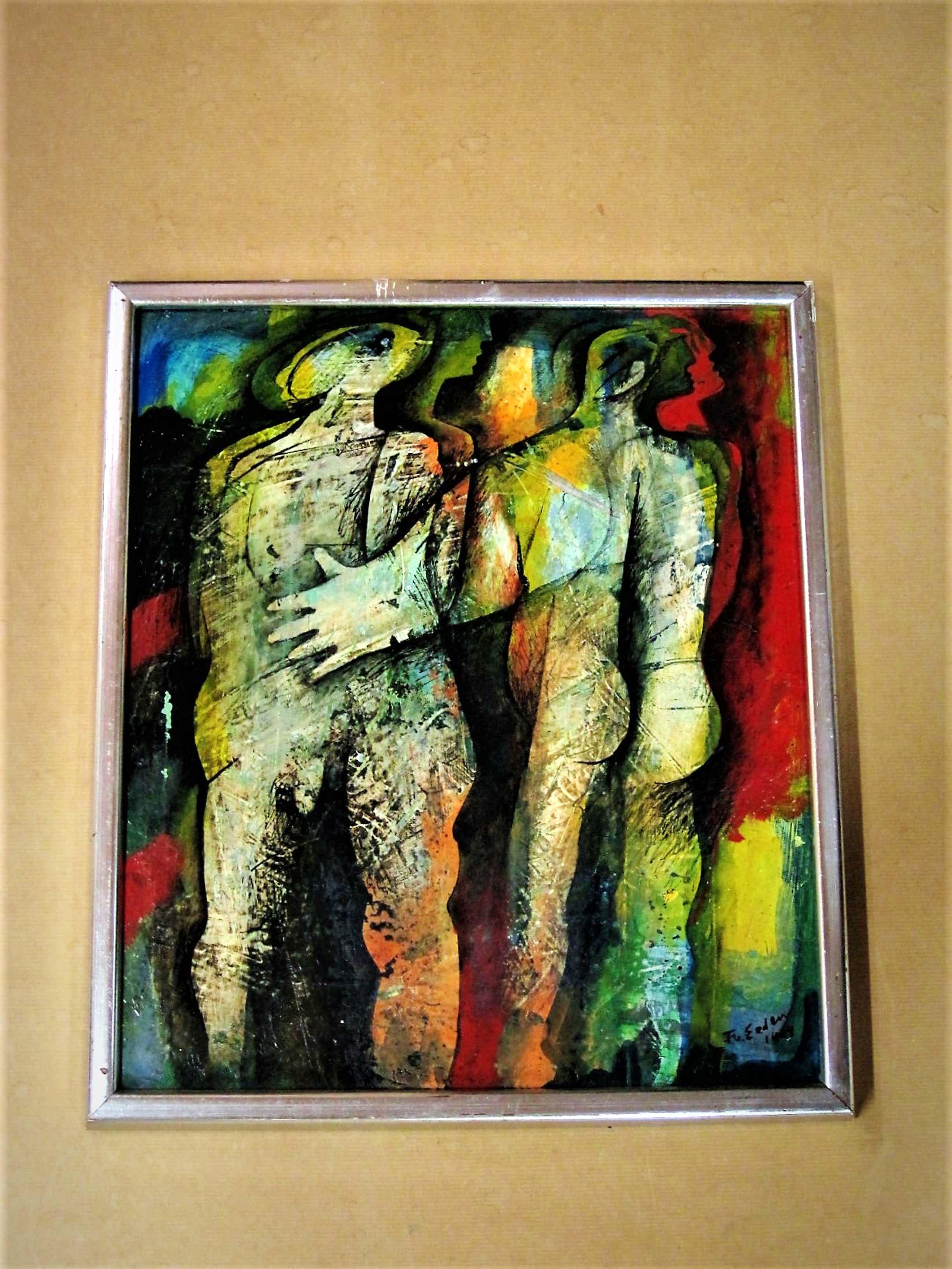 """Frits van Eeden - Magnifiek expressionistisch Olieverf """"Ontmoeting"""" gesigneerd kopen? Bied vanaf 145!"""