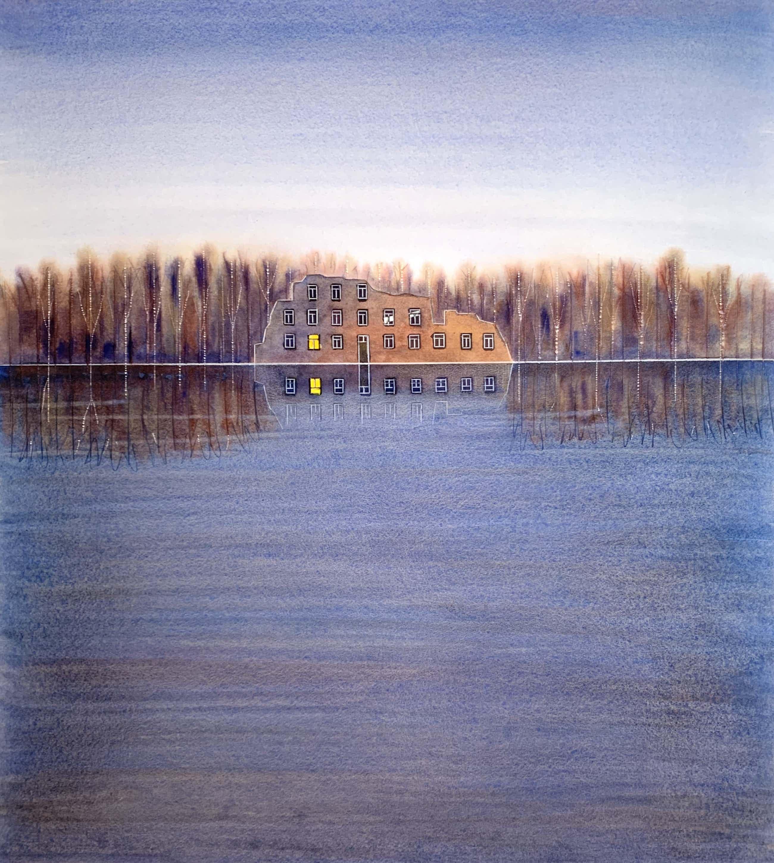 Willem de Vries - Aquarel - 'De ruïne' - 2001 (Uniek werk) kopen? Bied vanaf 95!