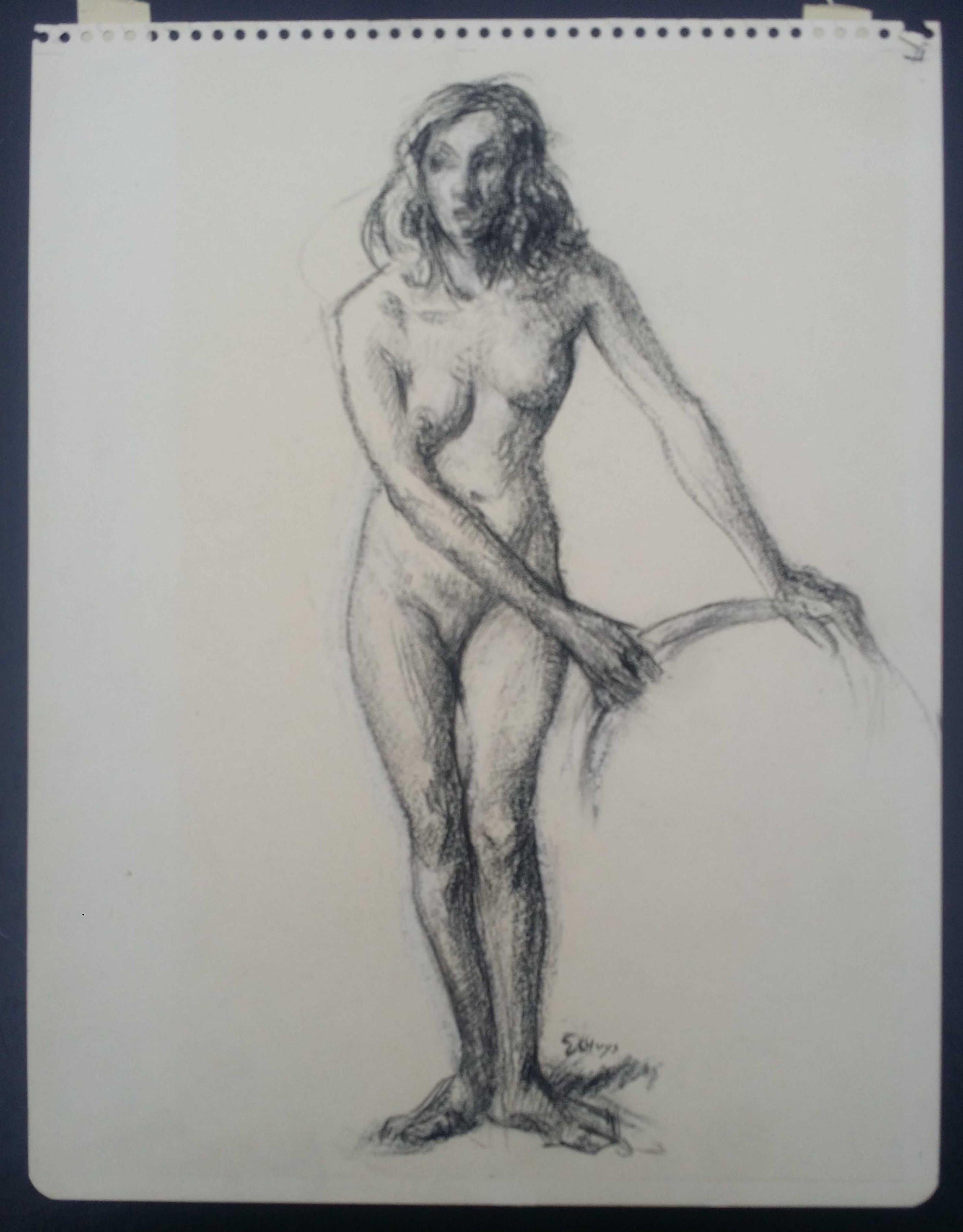 Hendrikus J. Eshuys - Naakt. Portret staande vrouw. kopen? Bied vanaf 35!