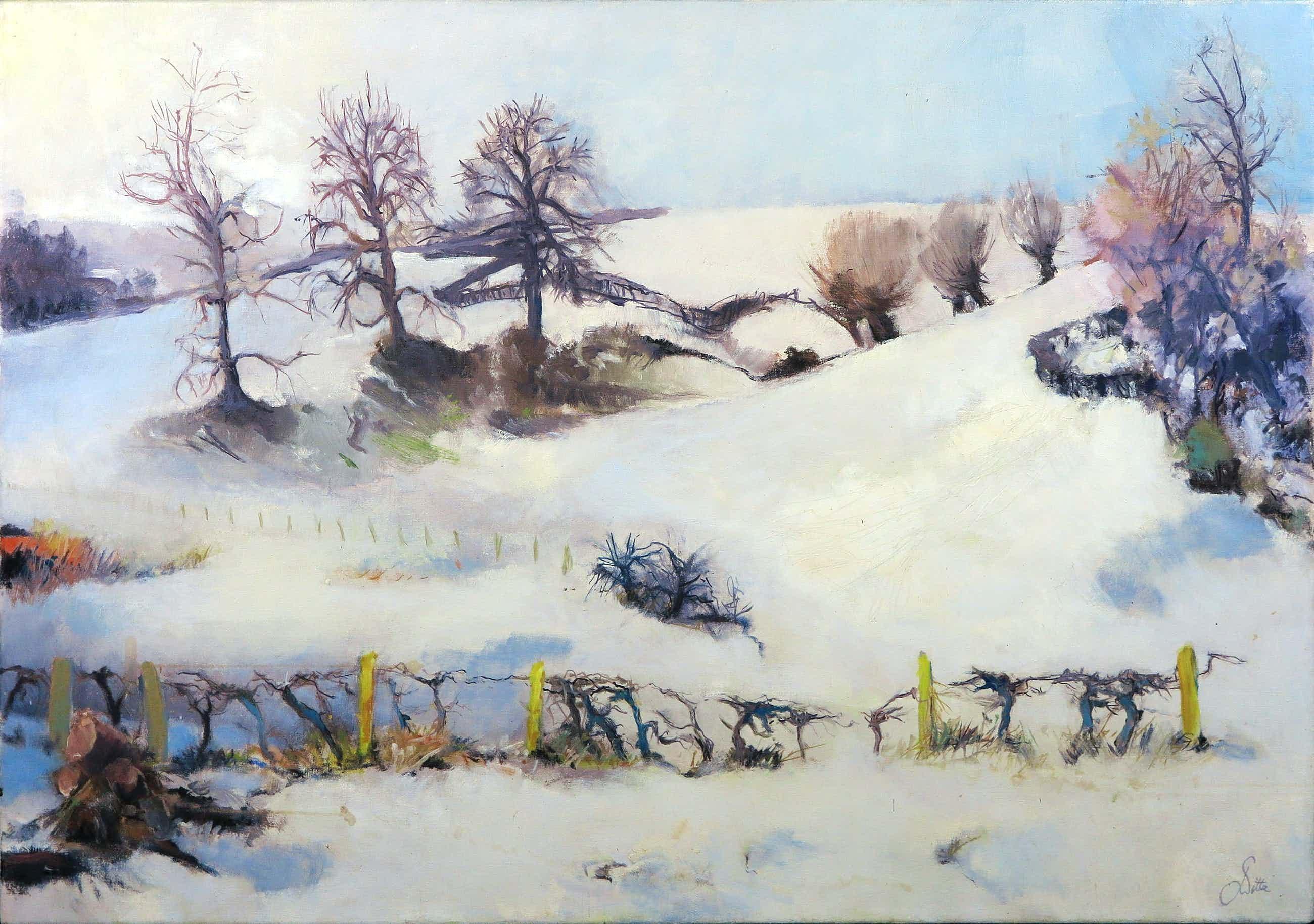 Franscz Witte - Acryl op doek, Sneeuwlandschap nabij Espen kopen? Bied vanaf 40!