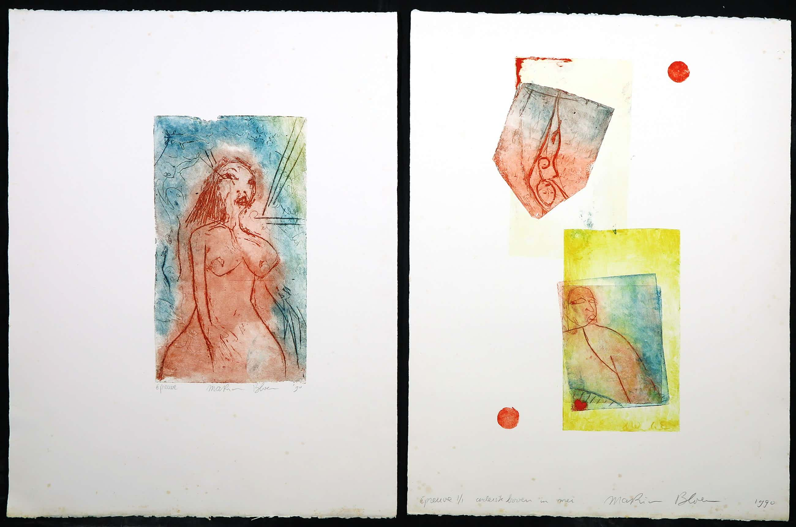 Marion Bloem - Lot van twee kleurenetsen, Vrouwfiguren kopen? Bied vanaf 50!