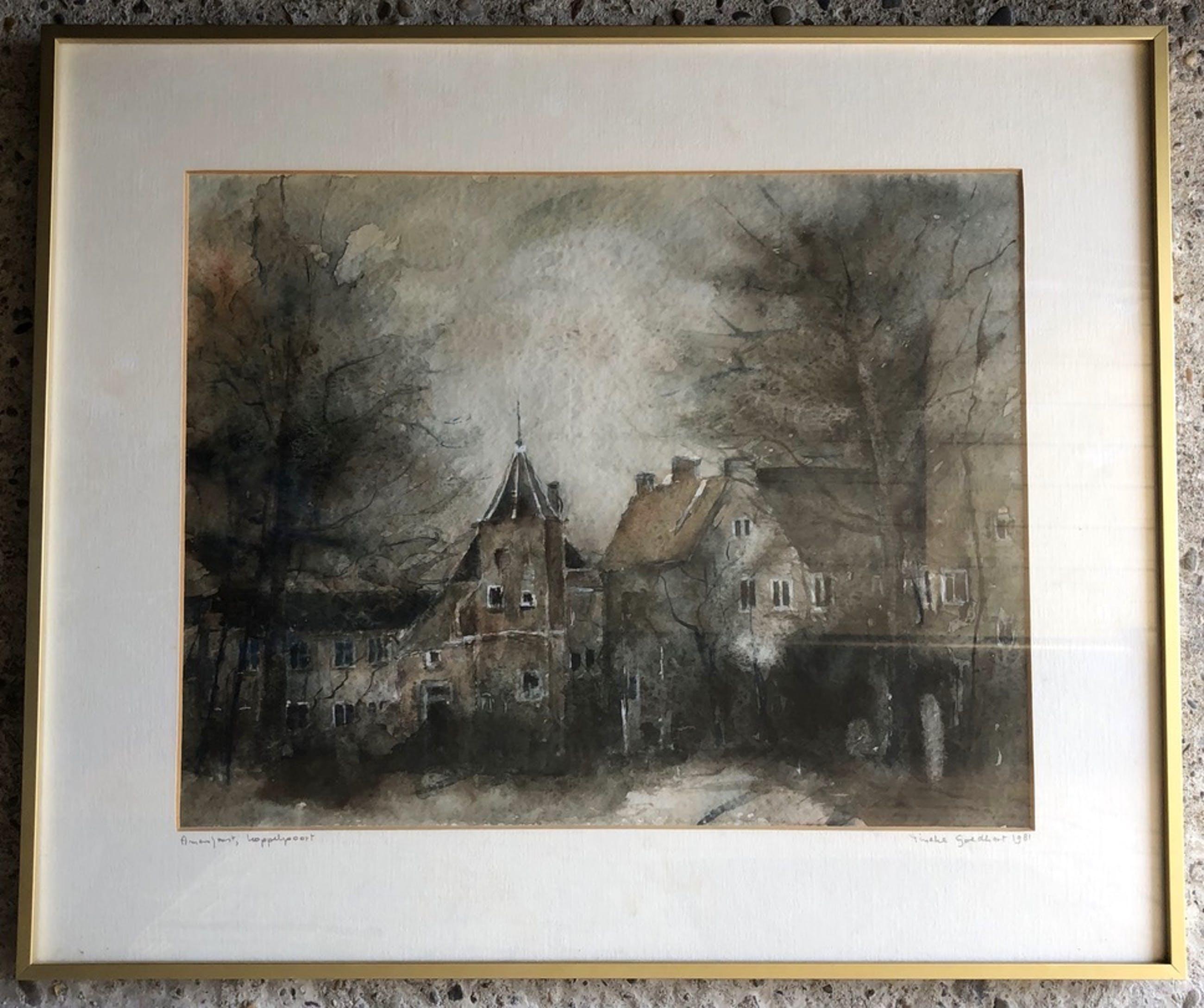Tineke Goedhart-Kraanen - Prachtige gesigneerde aquarel - Koppelpoort Amersfoort. kopen? Bied vanaf 20!