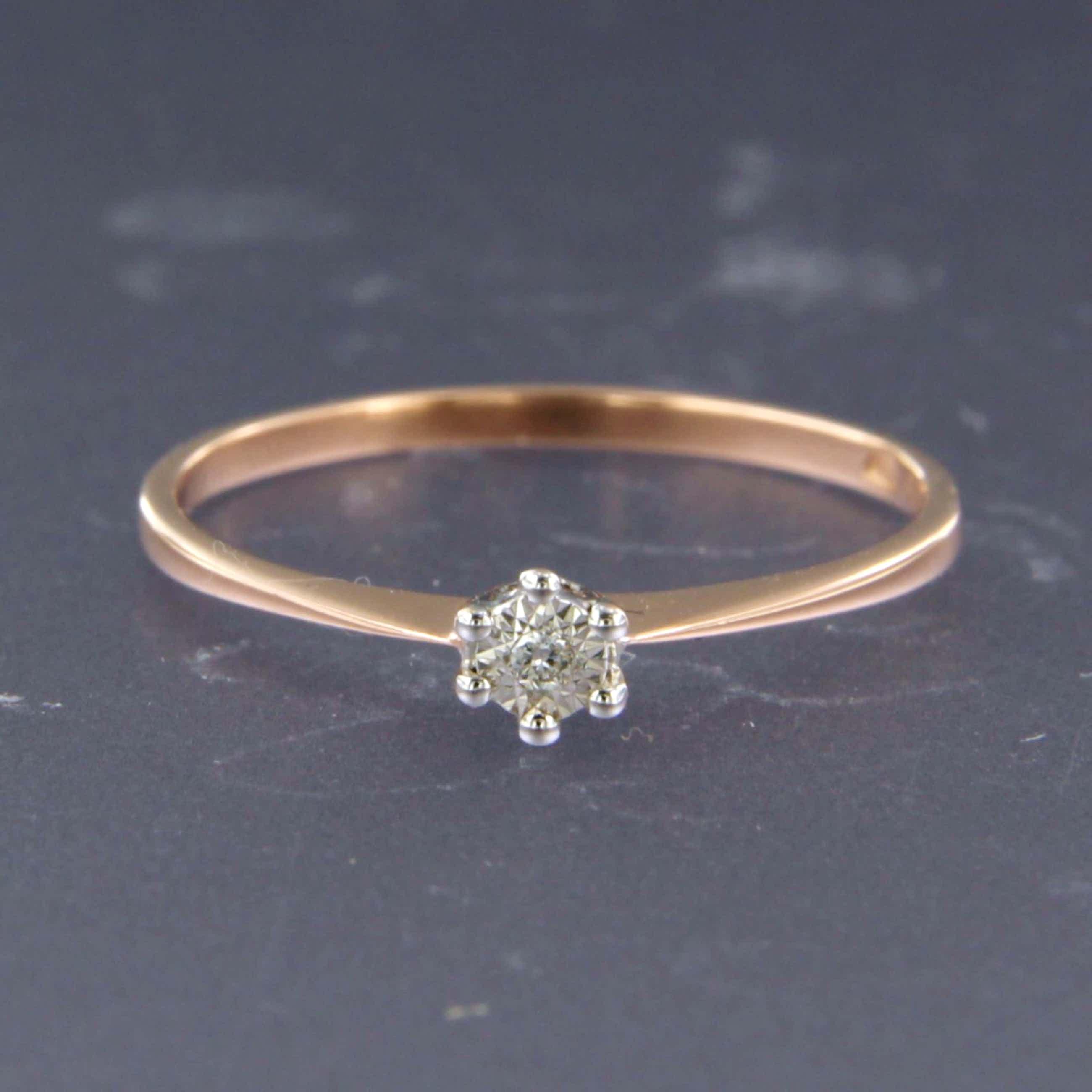 14K Goud - rood- en witgouden ring bezet met diamant - ringmaat 16 (50) kopen? Bied vanaf 44!