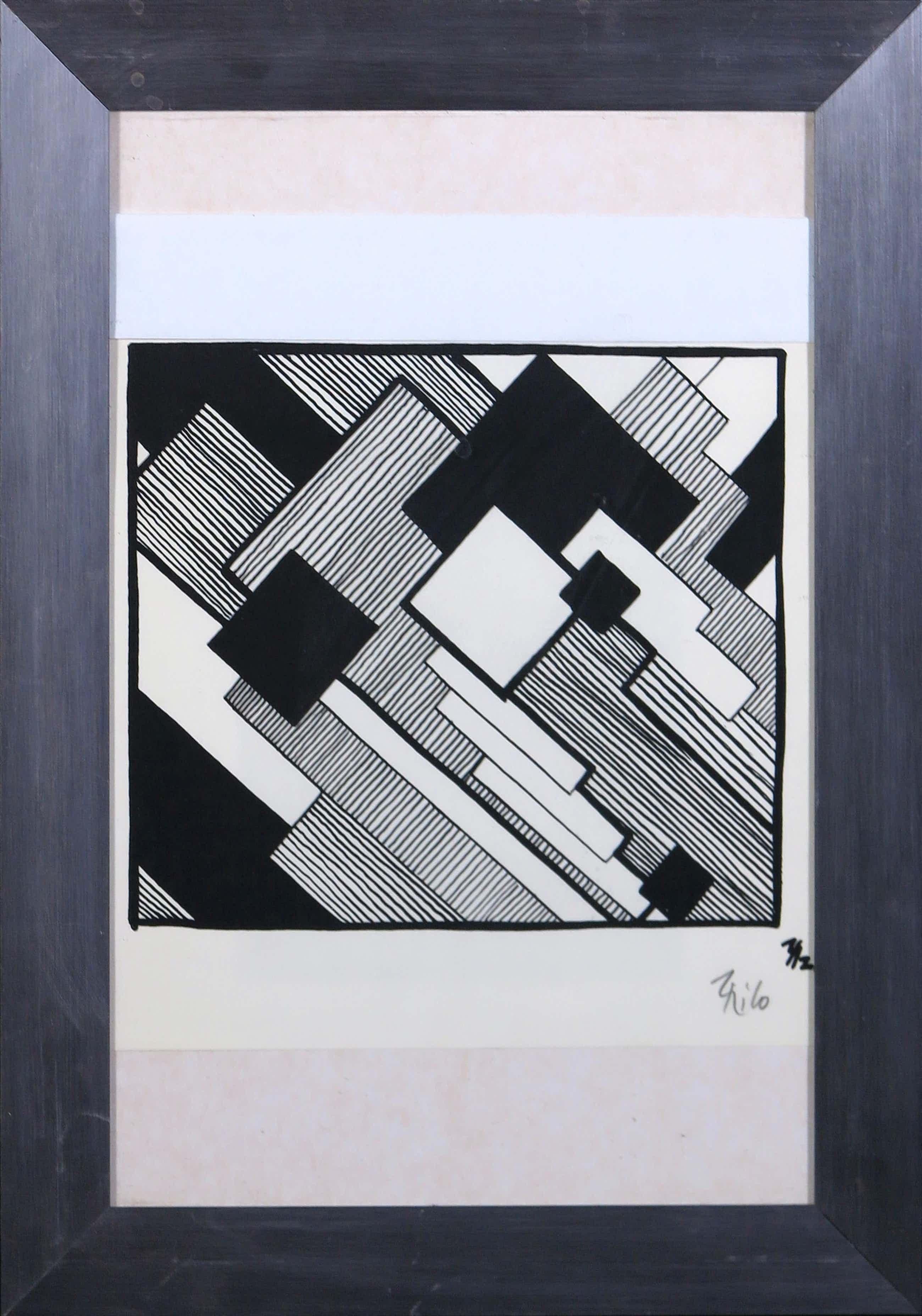 Thilo Maatsch - Houtsnede, Abstracte compositie - Ingelijst kopen? Bied vanaf 80!