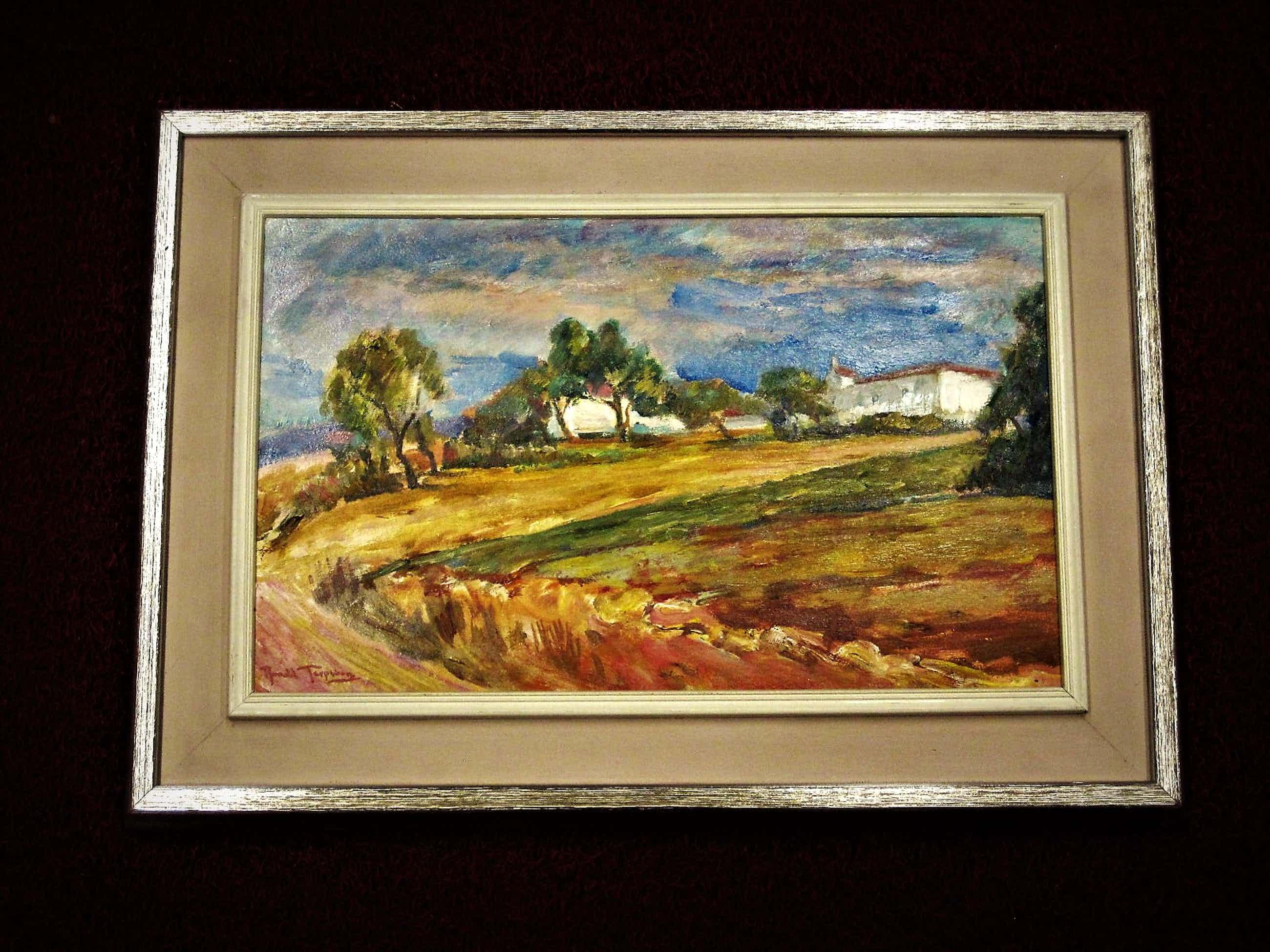"""Ronald Terpstra - Fraai oud impressionistisch olieverf """"Mediterraan Landschap"""" gesigneerd kopen? Bied vanaf 40!"""