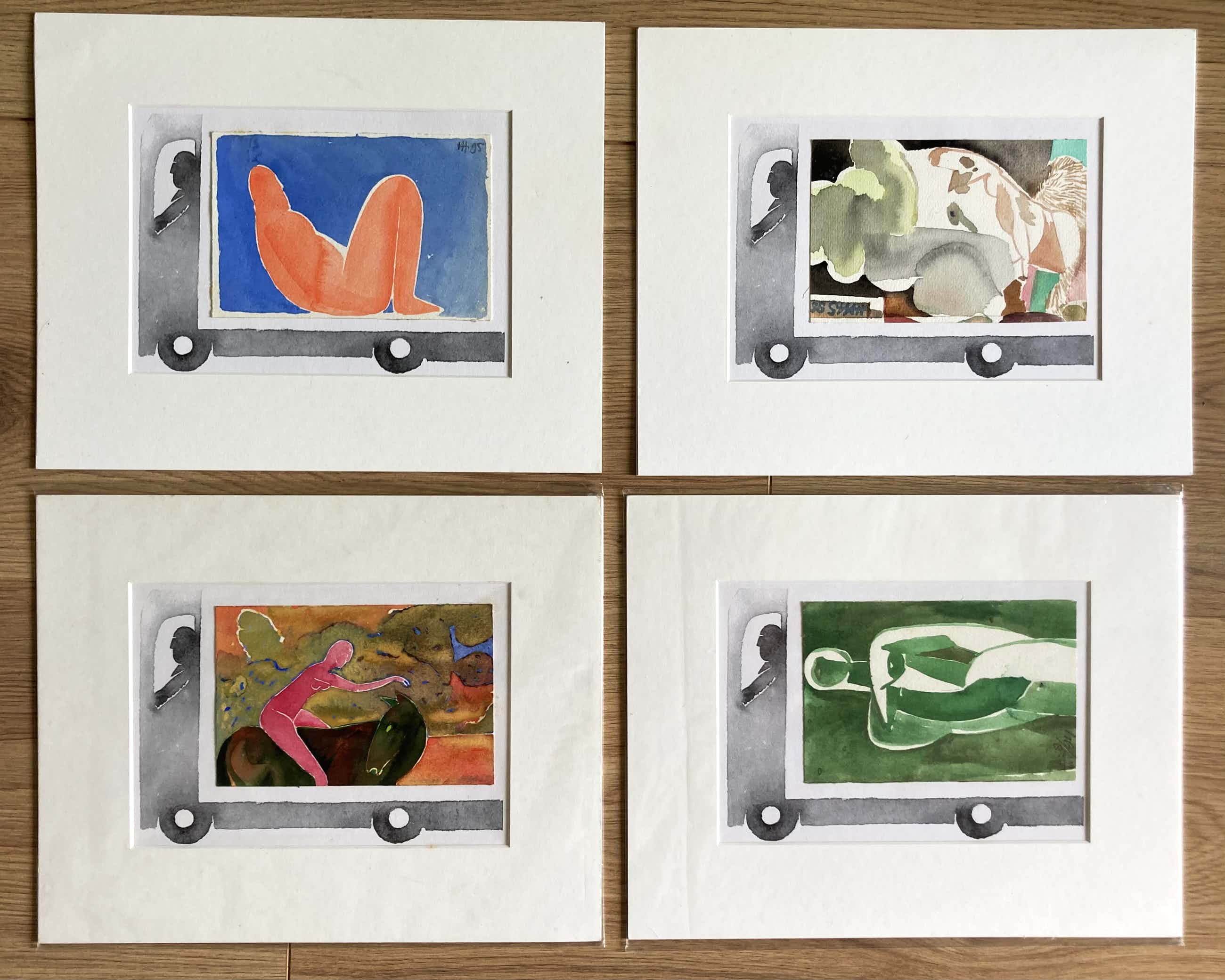 Henri de Haas - 4 aquarellen in bus! kopen? Bied vanaf 50!
