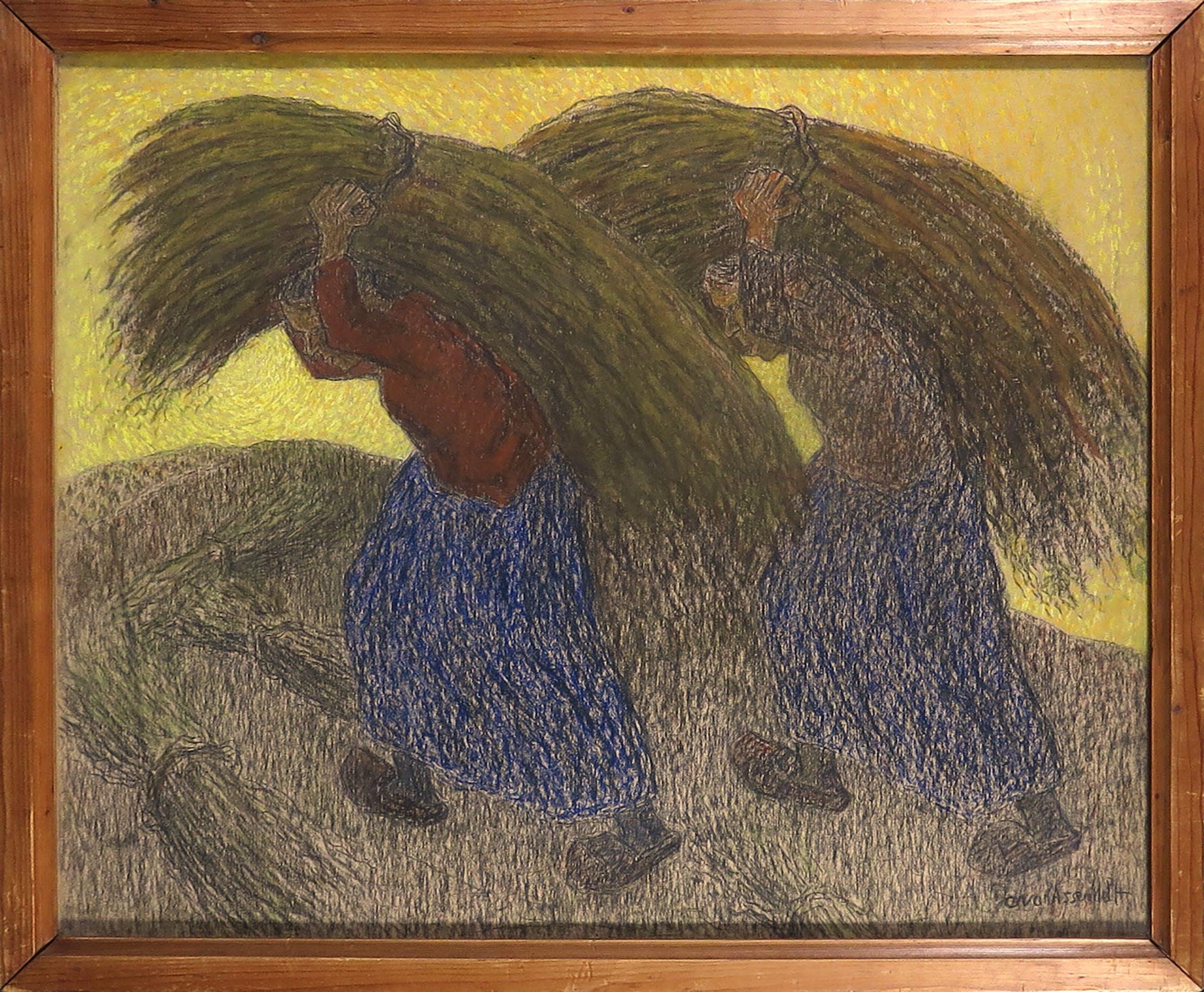 Cornelis Albert van Assendelft - Pastel op papier, Vrouwen met schoven - Ingelijst kopen? Bied vanaf 100!