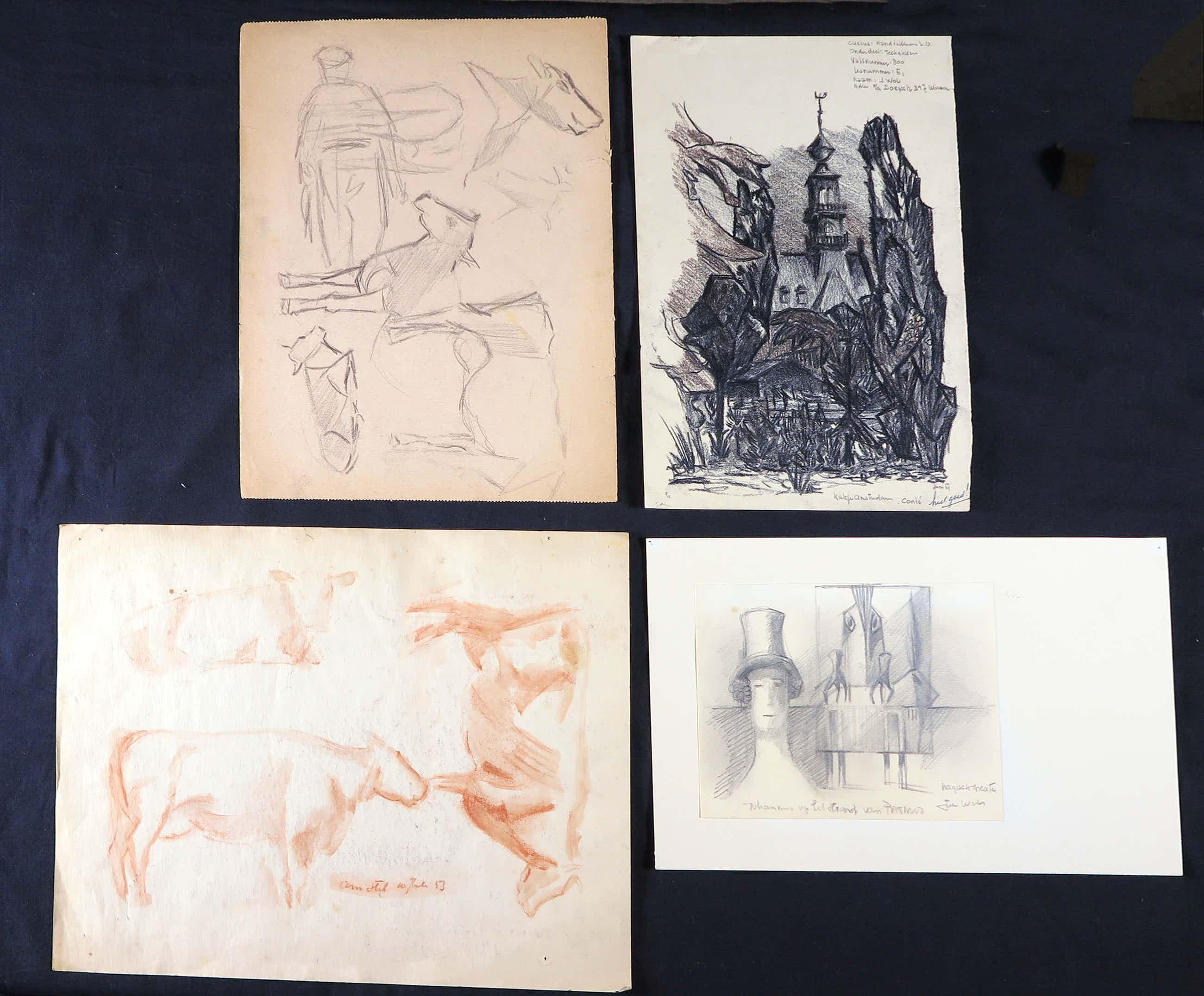 Joe Wols - Lot van vier tekeningen met potlood, Schetsen kopen? Bied vanaf 1!