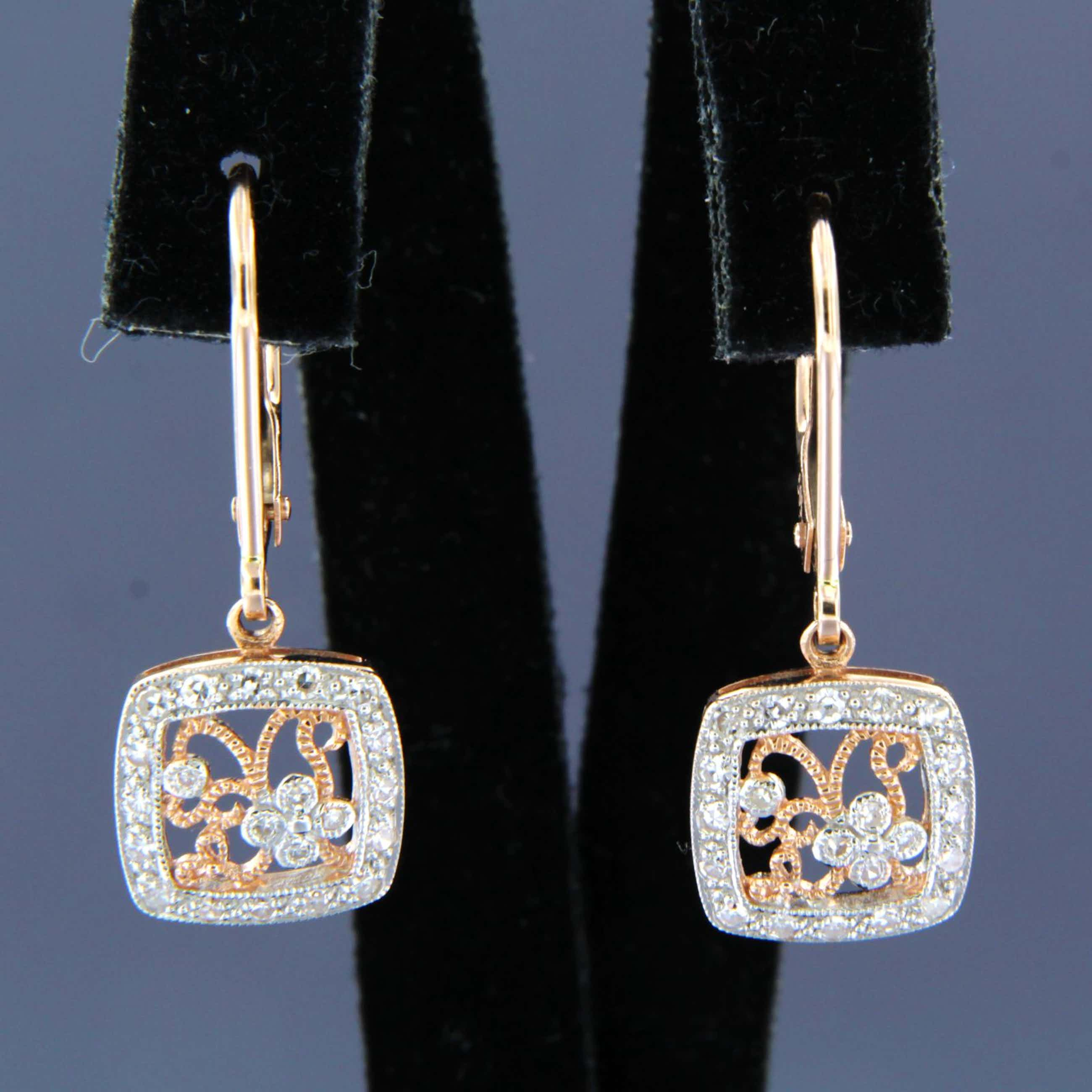 14K Goud - bicolor gouden oorhangers bezet met single cut geslepen diamanten kopen? Bied vanaf 400!