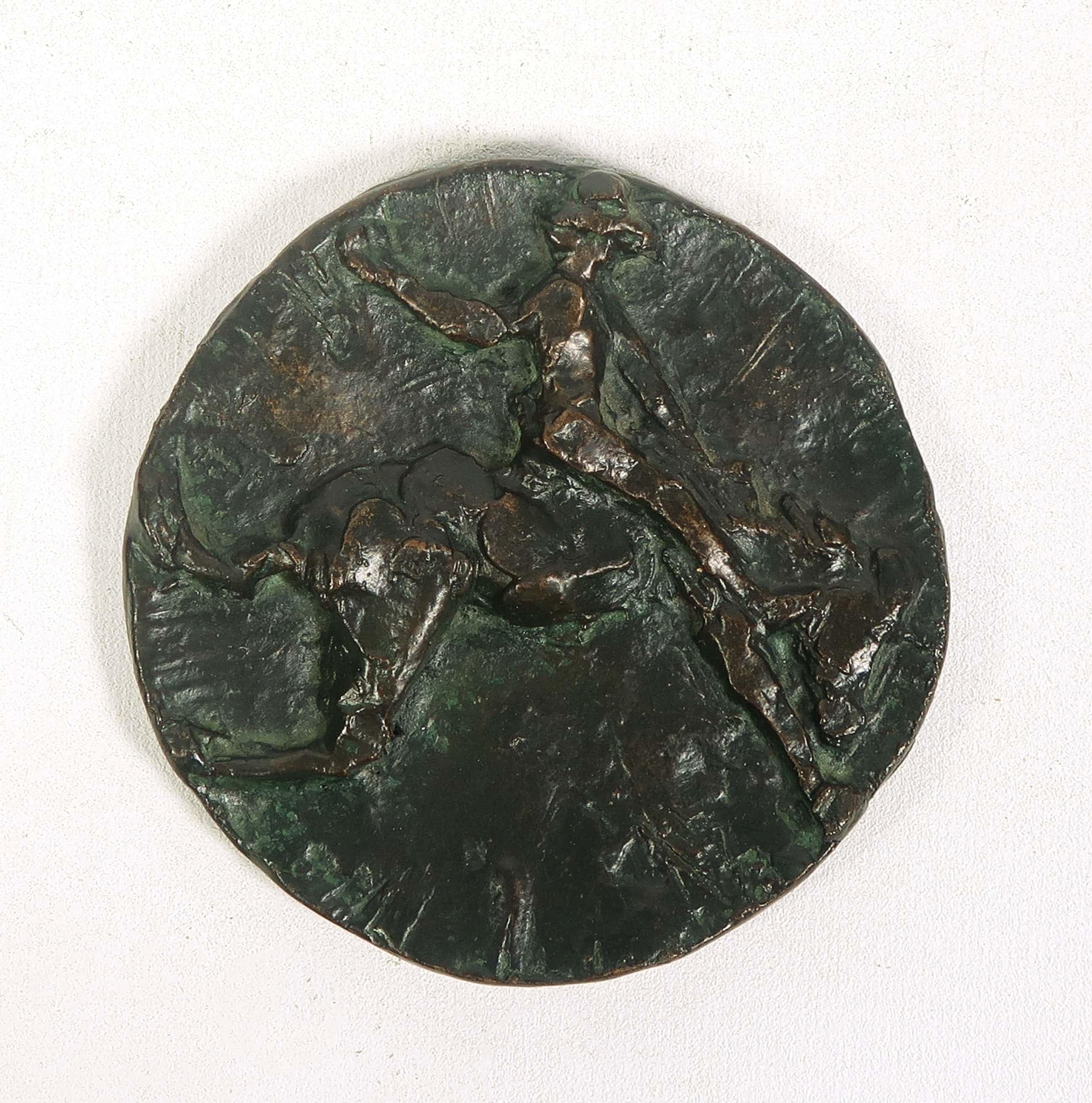 Jits Bakker - Bronzen plaquette, Man en paard kopen? Bied vanaf 100!