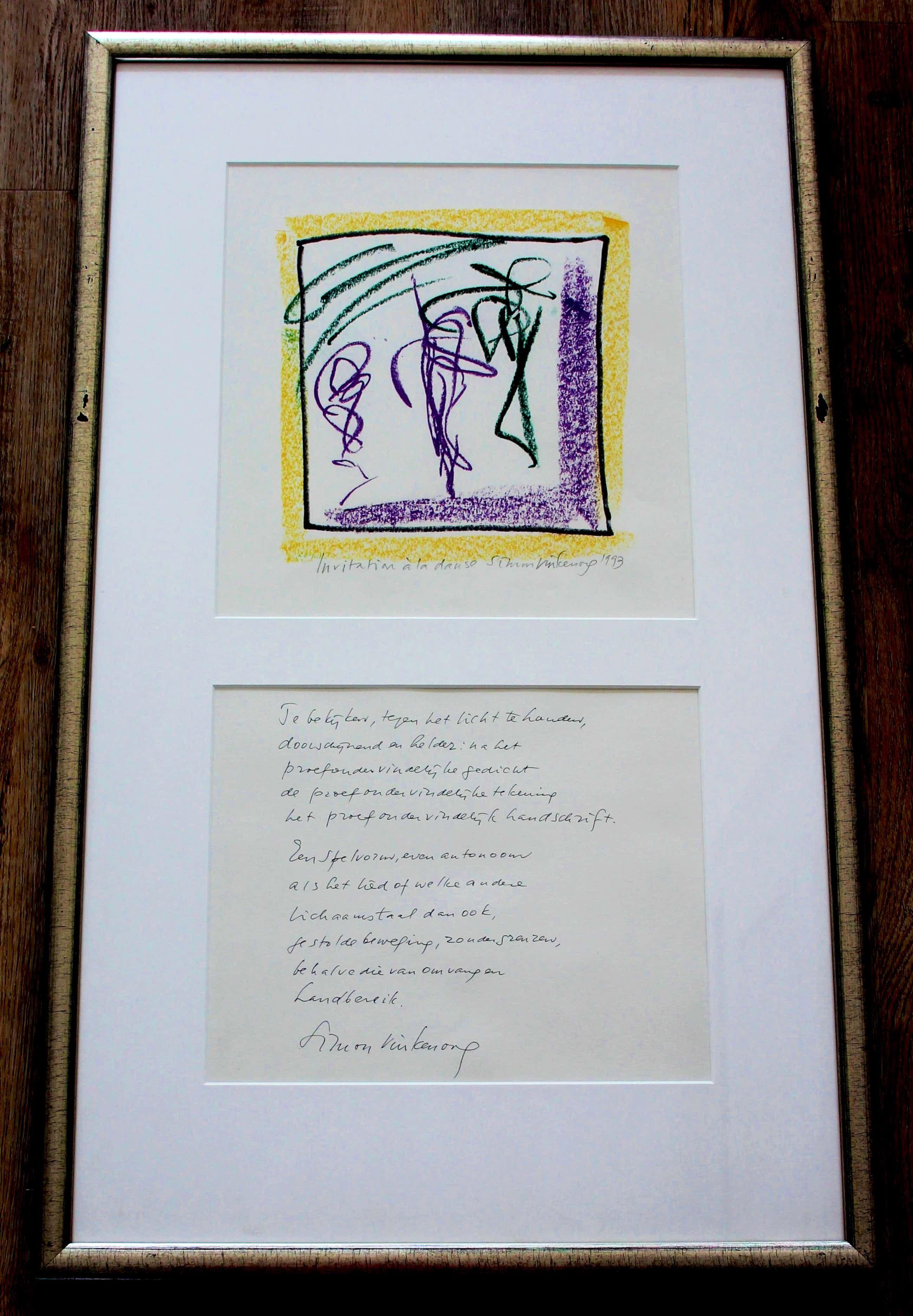 Simon Vinkenoog - Ingelijste krijttekening + gedicht: Invitation a la danse - 1993 kopen? Bied vanaf 149!
