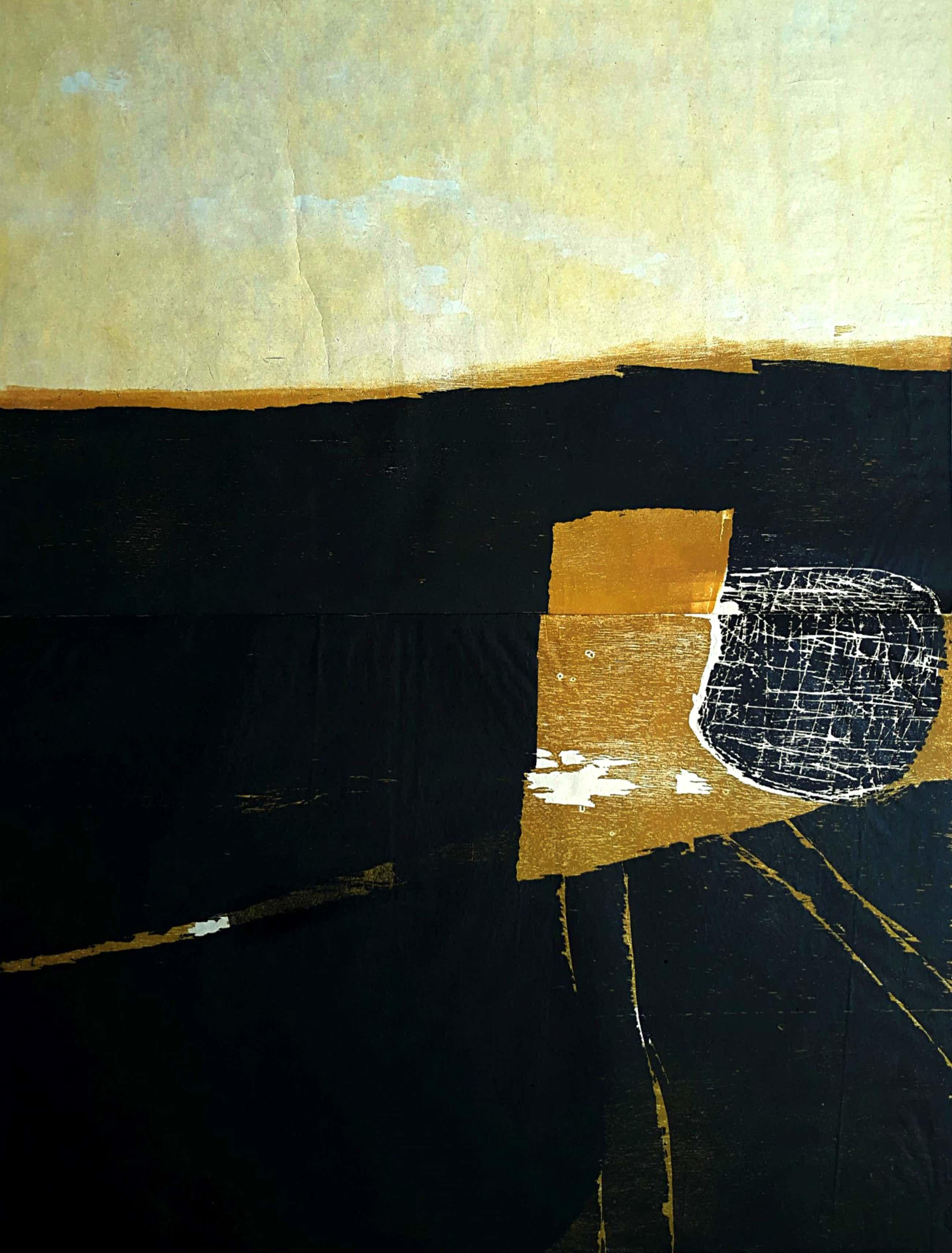 Guillaume Le Roy - Abstracte voorstelling, meerkleurige houtsnede (groot!) kopen? Bied vanaf 50!