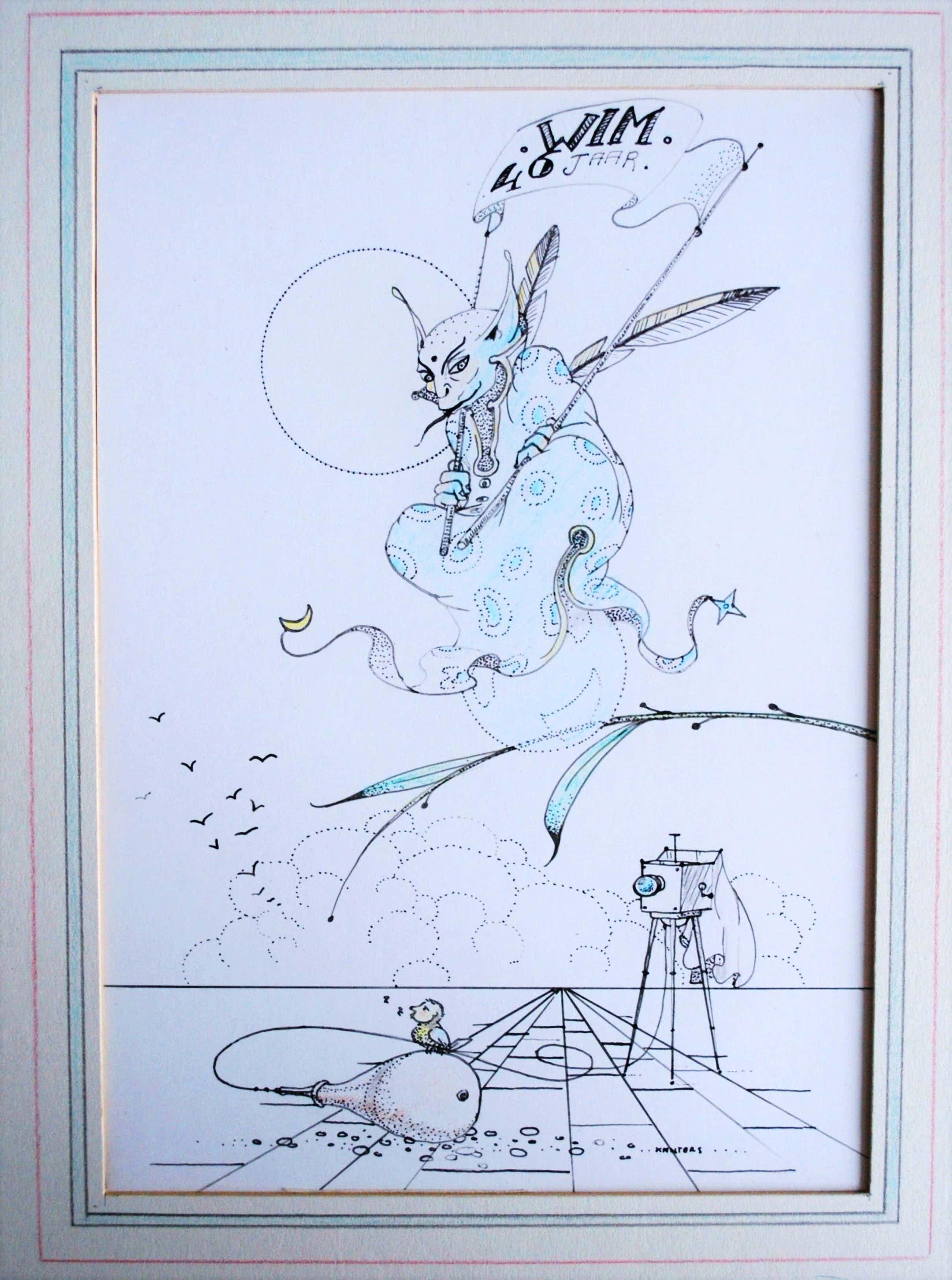 Hans Kanters - ingekleurde tekening , met opdracht, ingelijst - incl. 2 boeken kopen? Bied vanaf 156!