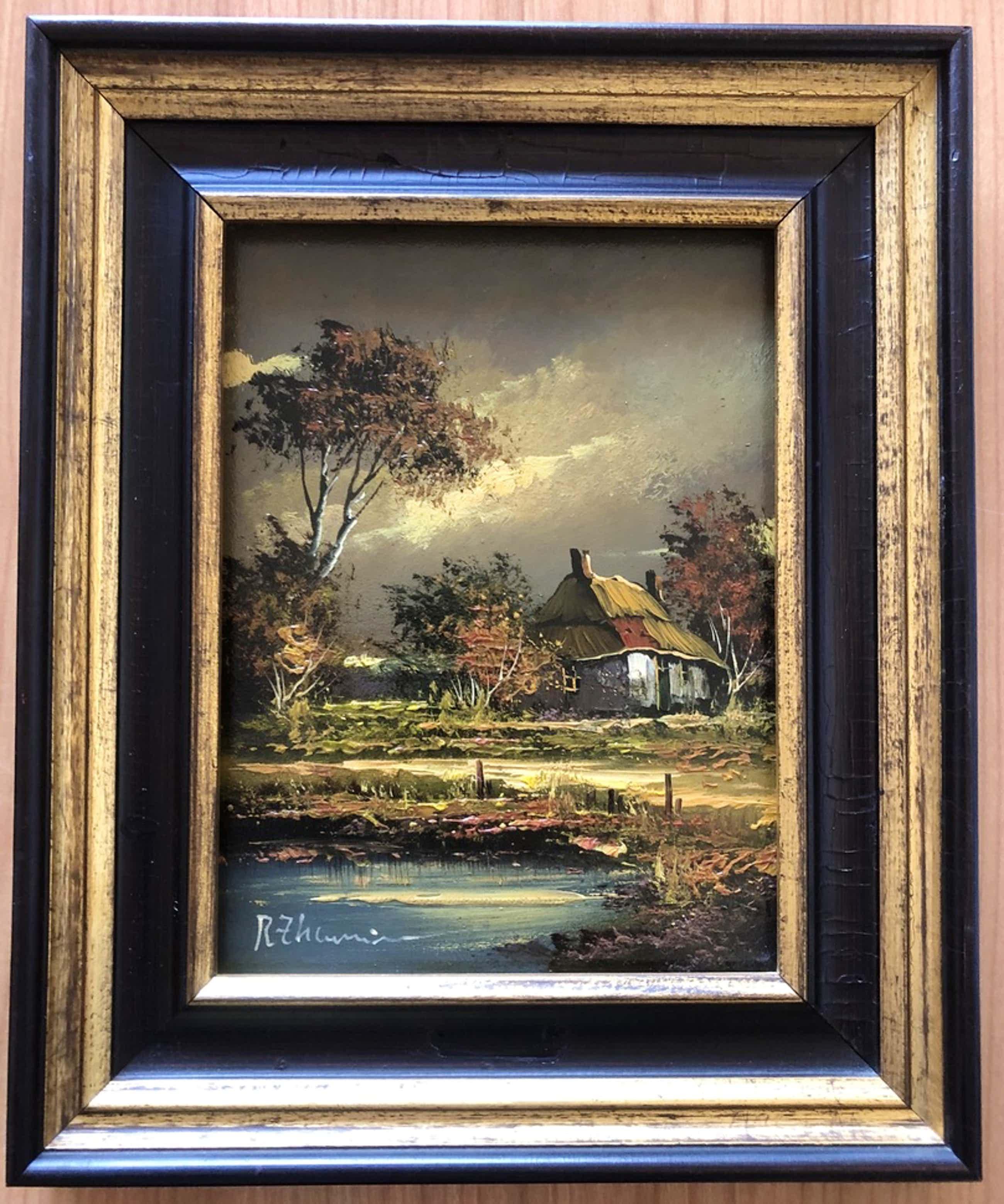 """Rick Theunissen - Prachtig schilderij in kenmerkende kleuren. """" Huis aan het water """". kopen? Bied vanaf 50!"""