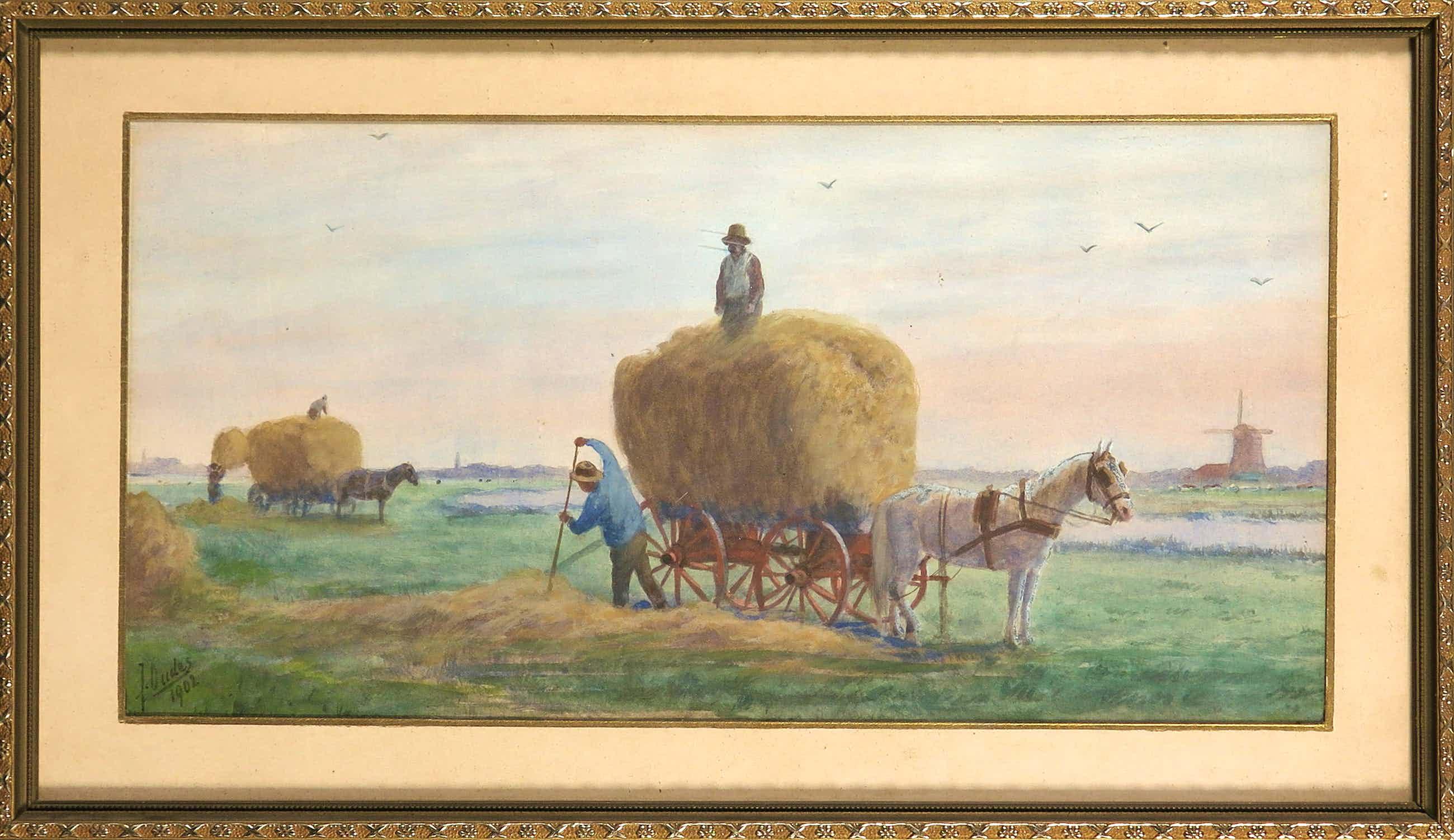 Jacob Oudes - Gouache, Landschap met hooiwagens kopen? Bied vanaf 50!