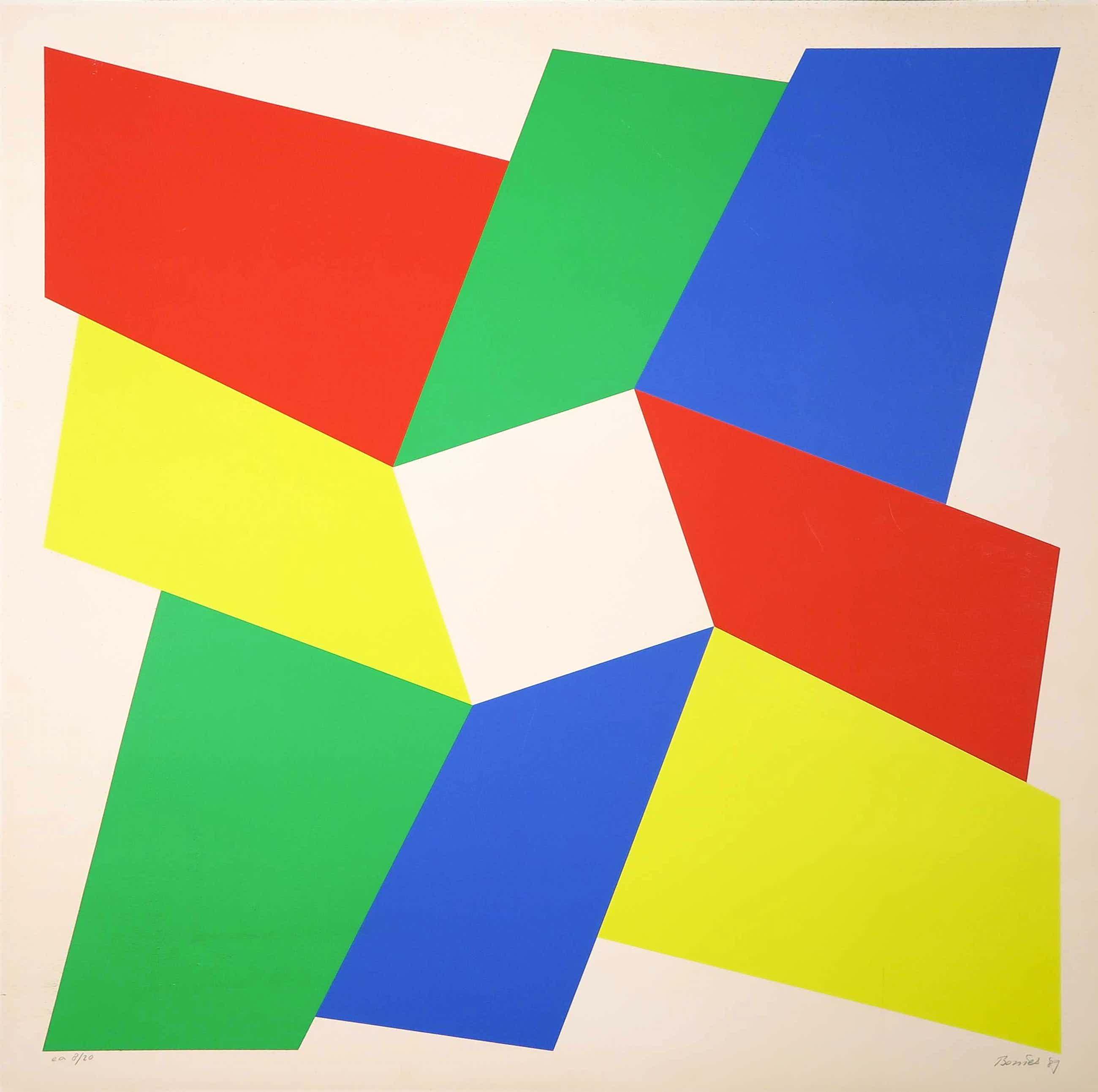 Bob Bonies - Zeefdruk, Geometrisch abstracte voorstelling kopen? Bied vanaf 35!