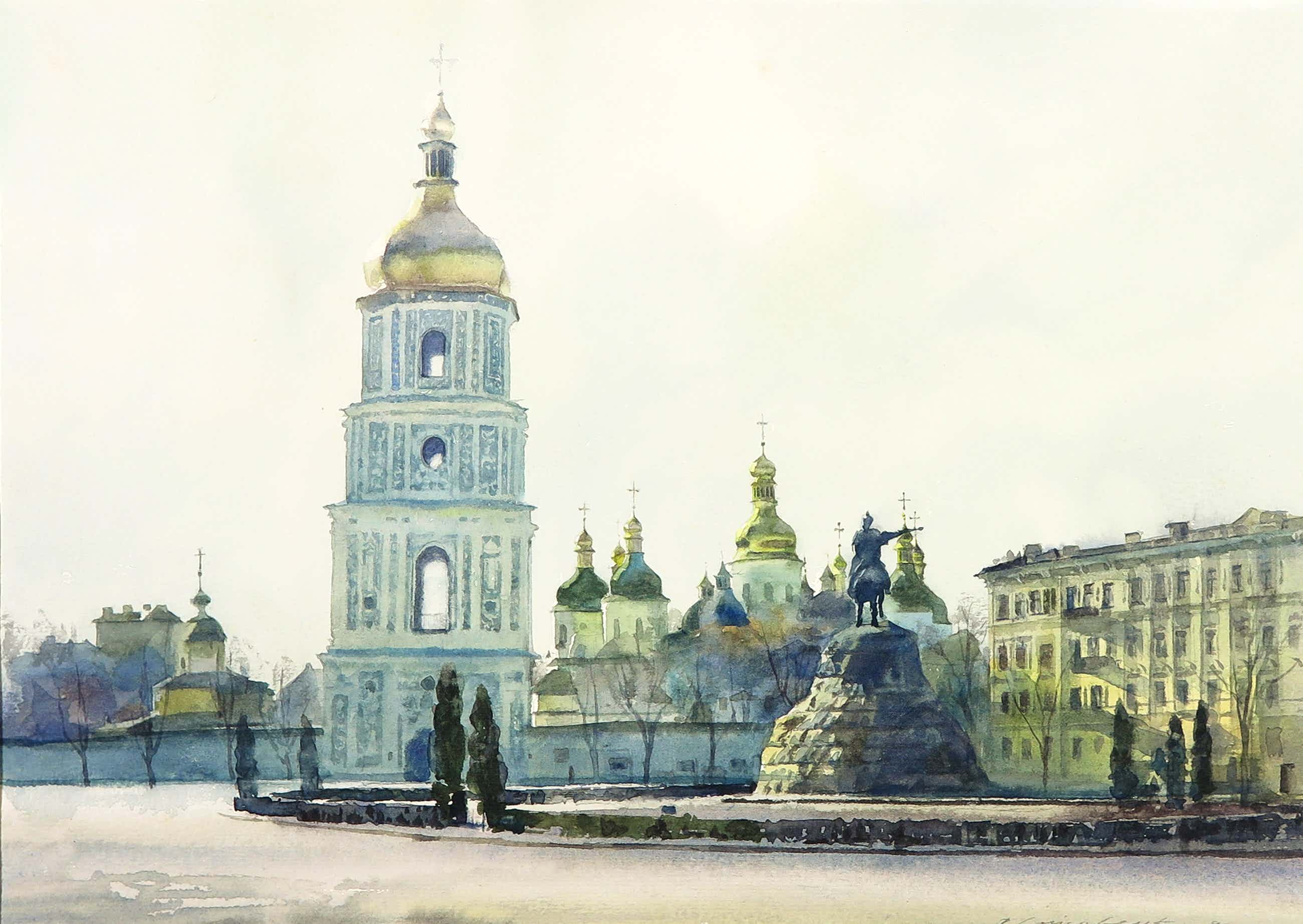 Niet of onleesbaar gesigneerd - Aquarel, Bohdan Khmelnytsky monument Kiev kopen? Bied vanaf 15!