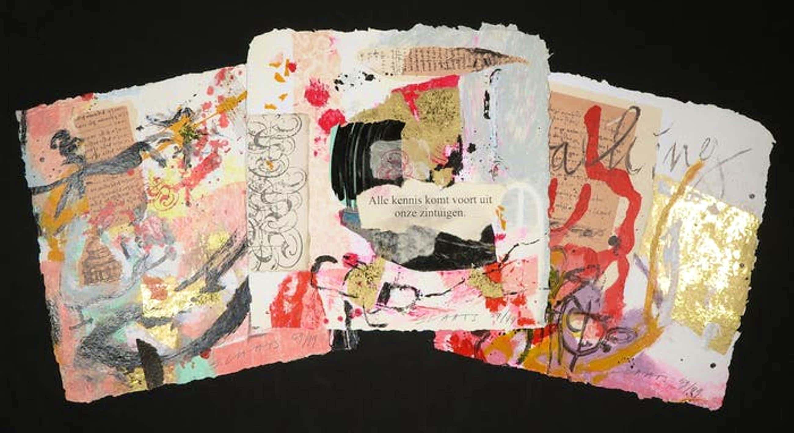 Miriam Slaats - Map met drie zeefdrukken, Alle kennis komt voort uit onze zintuigen kopen? Bied vanaf 11!