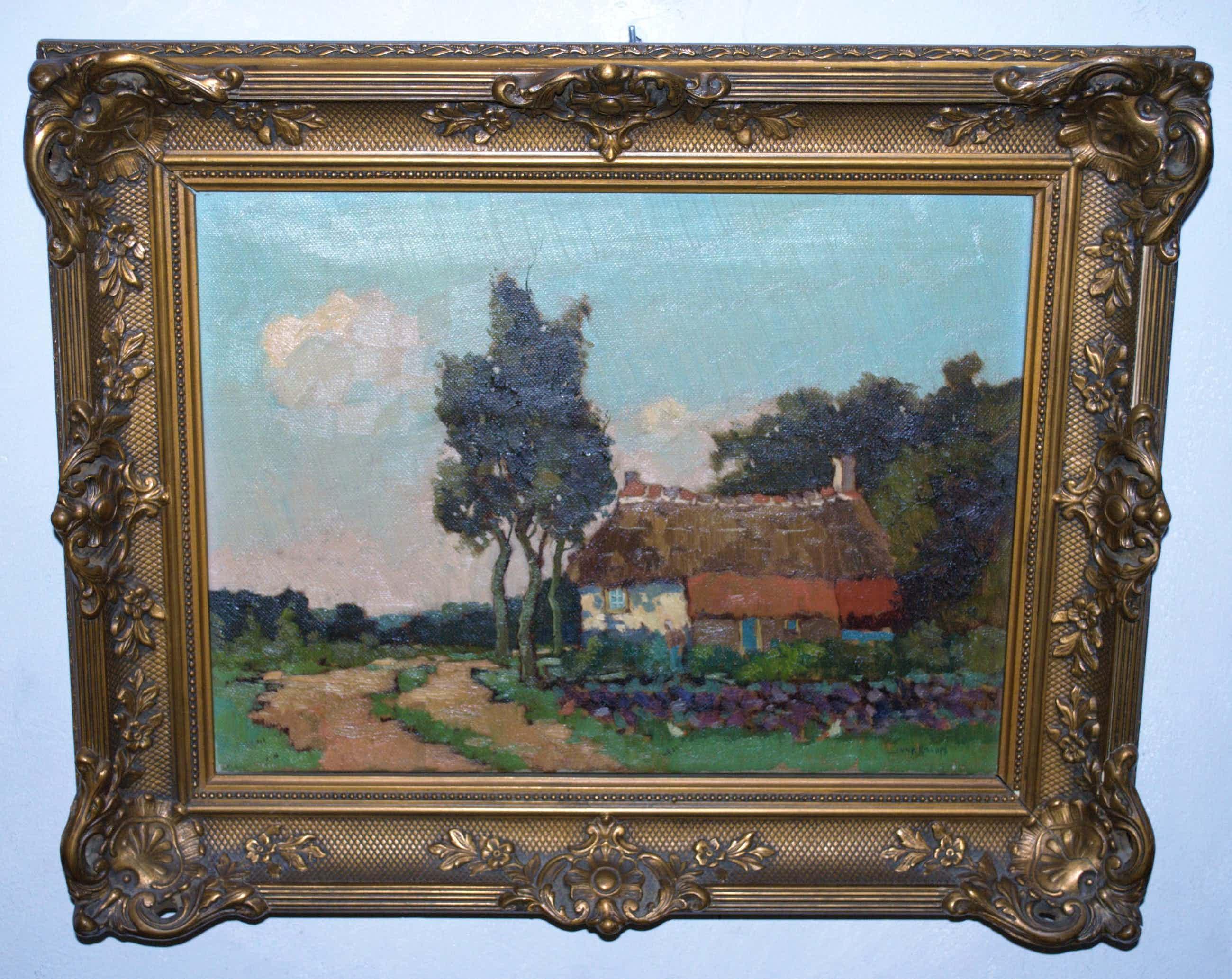 Joop Kropff - boerderij in zonnig landschap - olieverfschilderij  kopen? Bied vanaf 190!
