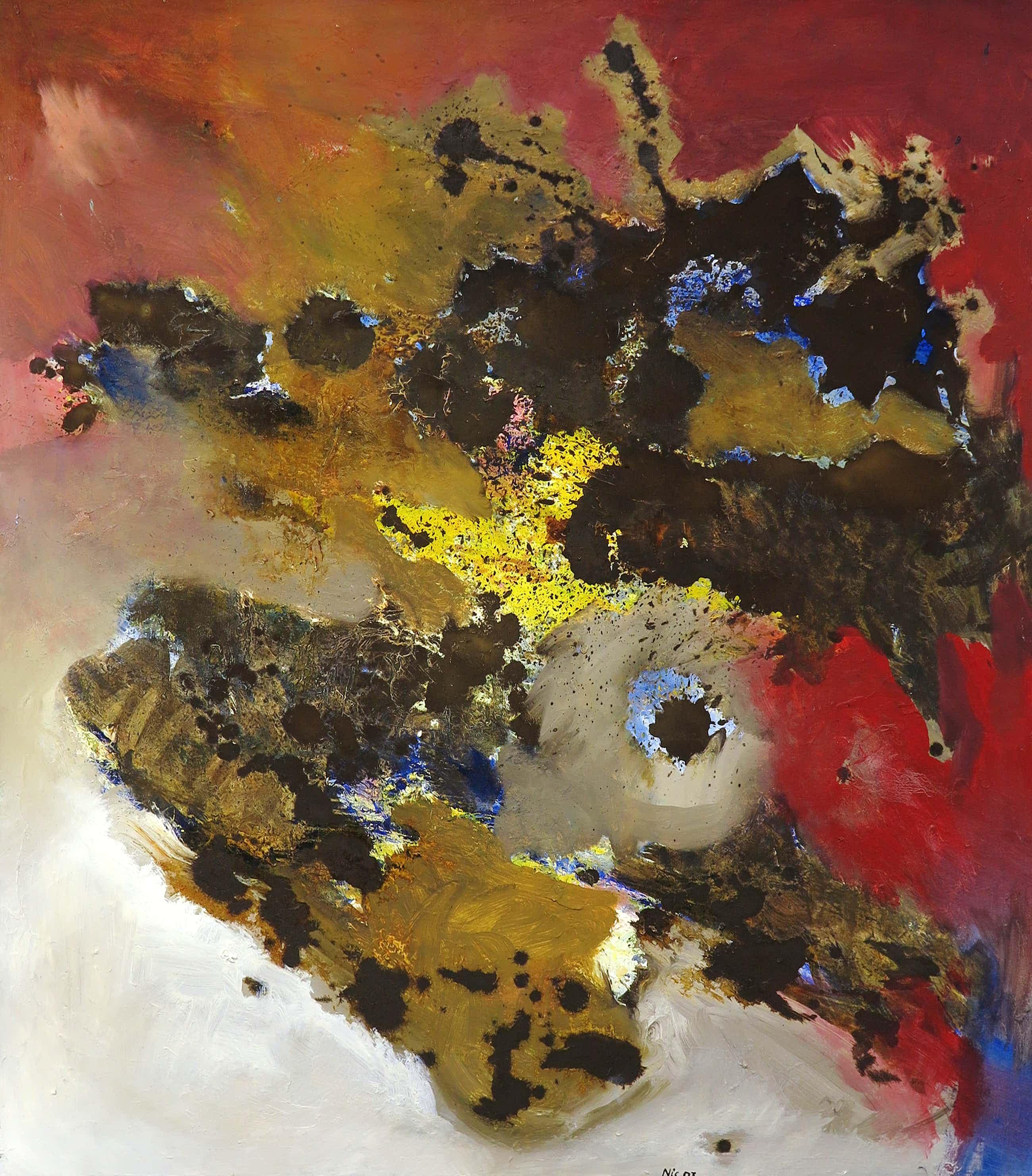 Frans Nicolai - Gemengde techniek op doek, Abstracte compositie - Ingelijst (Groot) kopen? Bied vanaf 73!