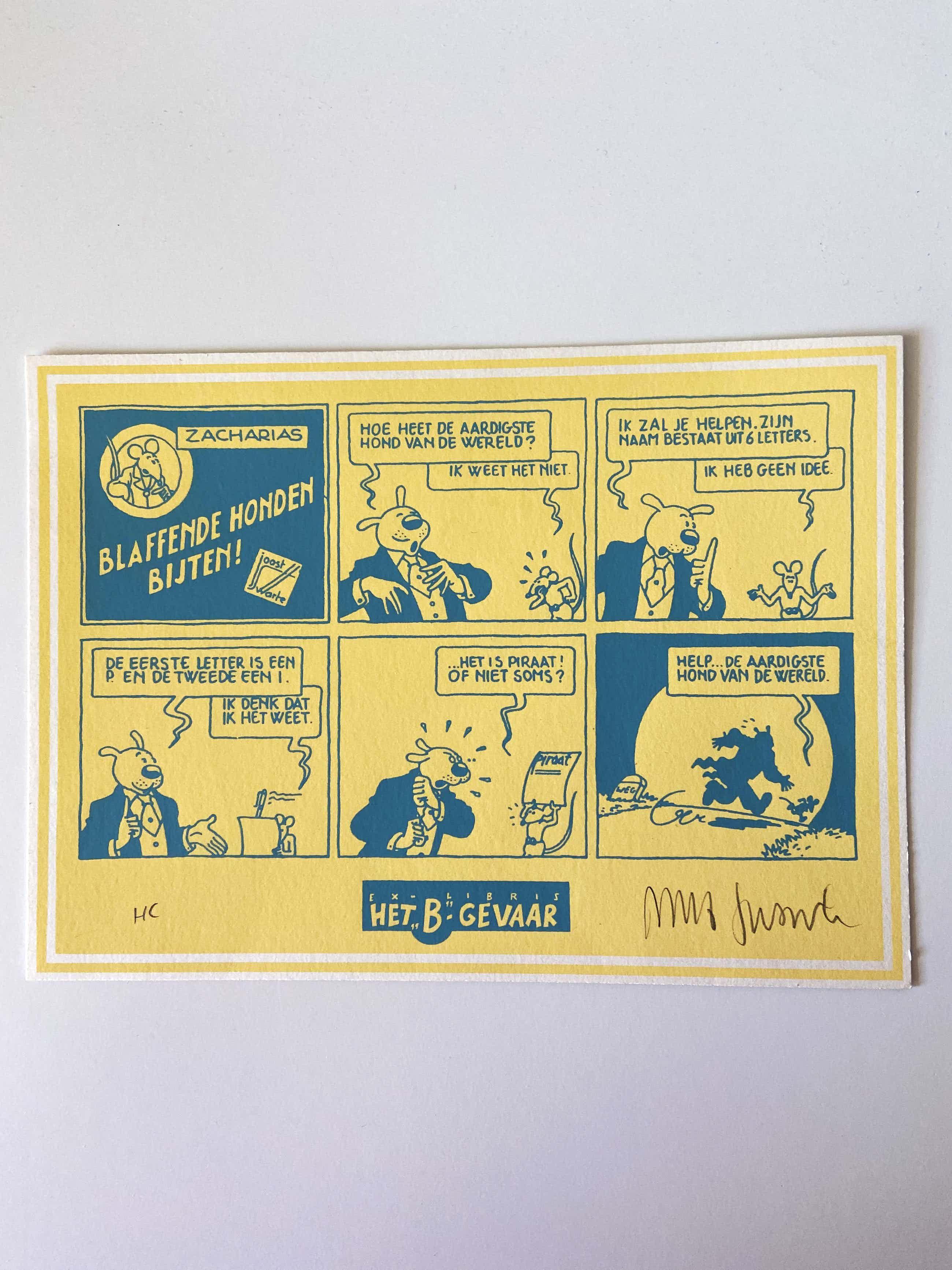 """Joost Swarte - """"Blaffende honden bijten!"""" en Ontwerp raam bibliotheek Alphen a.d. Rijn kopen? Bied vanaf 45!"""