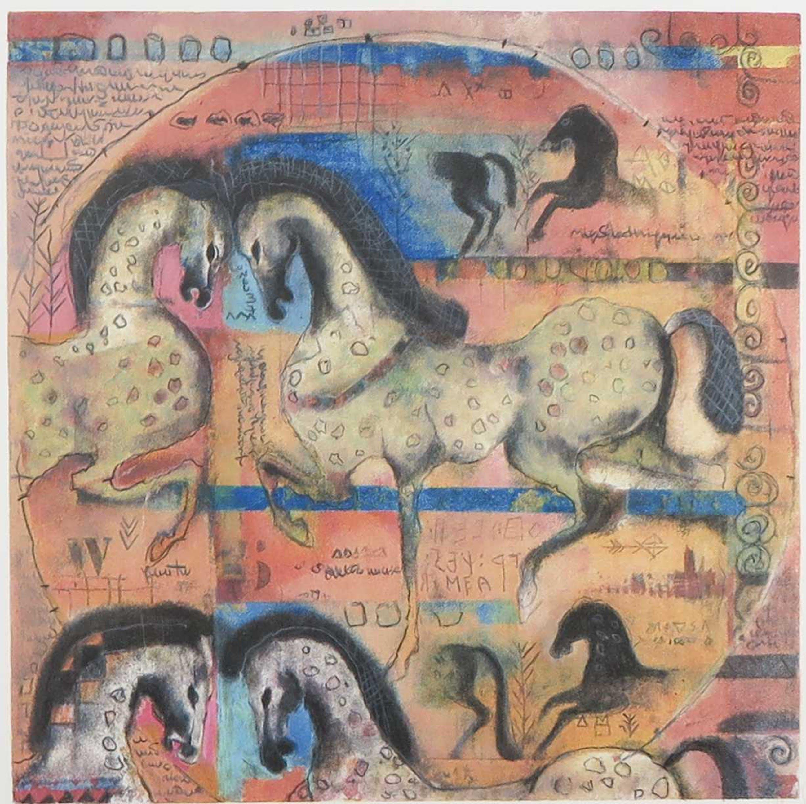 Astrid Engels - Litho, Etrurian War Horses - Ingelijst kopen? Bied vanaf 50!