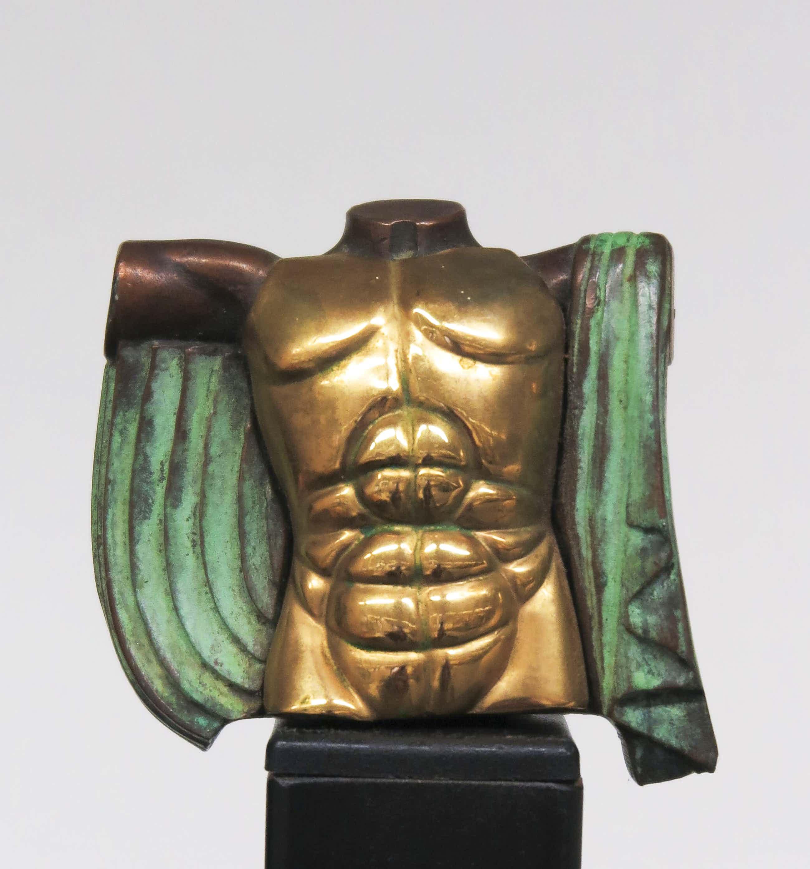 Miguel Berrocal - Klein beeld van brons met 24k verguld front, Eros voor Les Beaux Arts kopen? Bied vanaf 130!