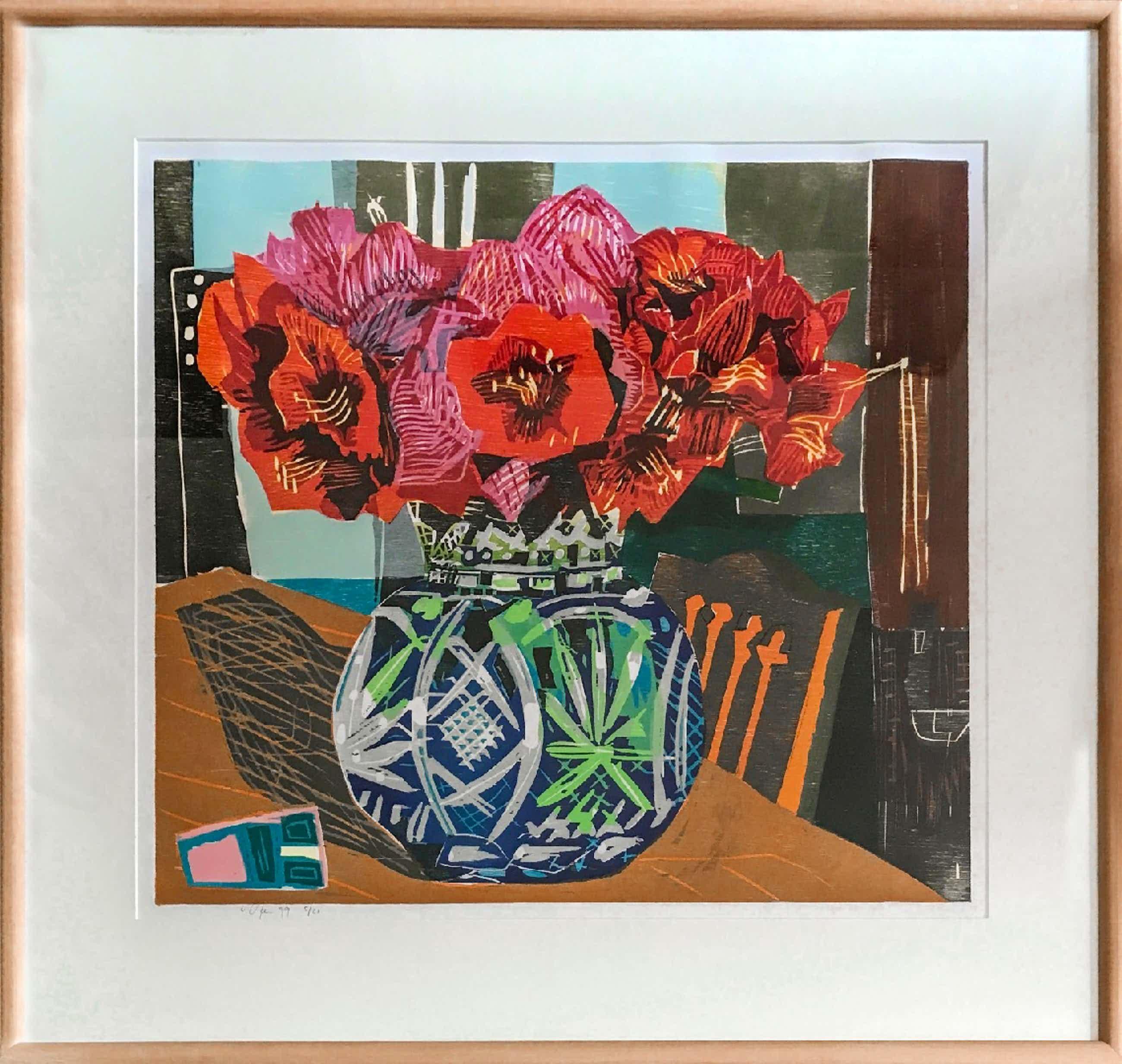 Vincent van Ojen - Stilleven - Bloemen in vaas op tafel (groot) kopen? Bied vanaf 115!