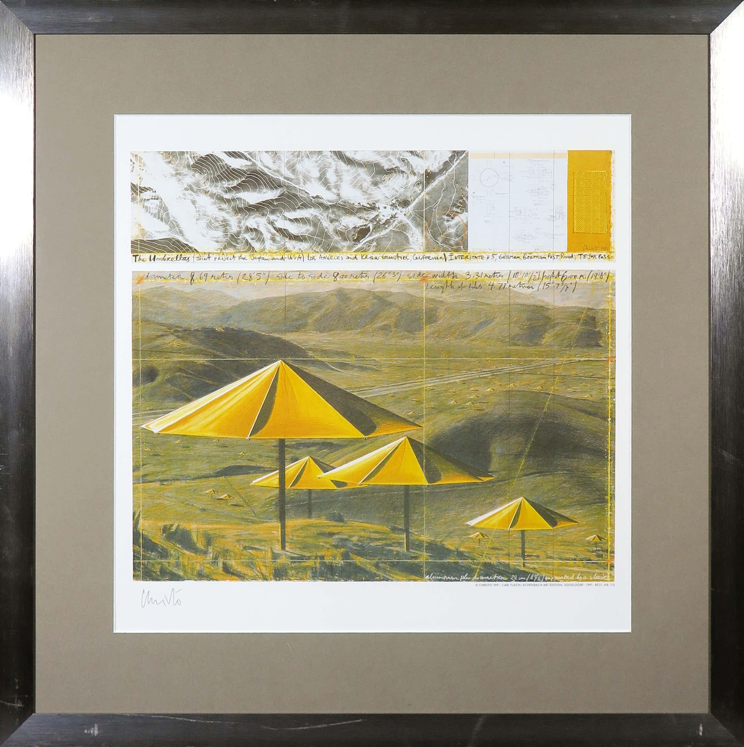 Christo - Handgesigneerd exemplaar The Umbrellas met stukje stof - Ingelijst (Groot) kopen? Bied vanaf 110!