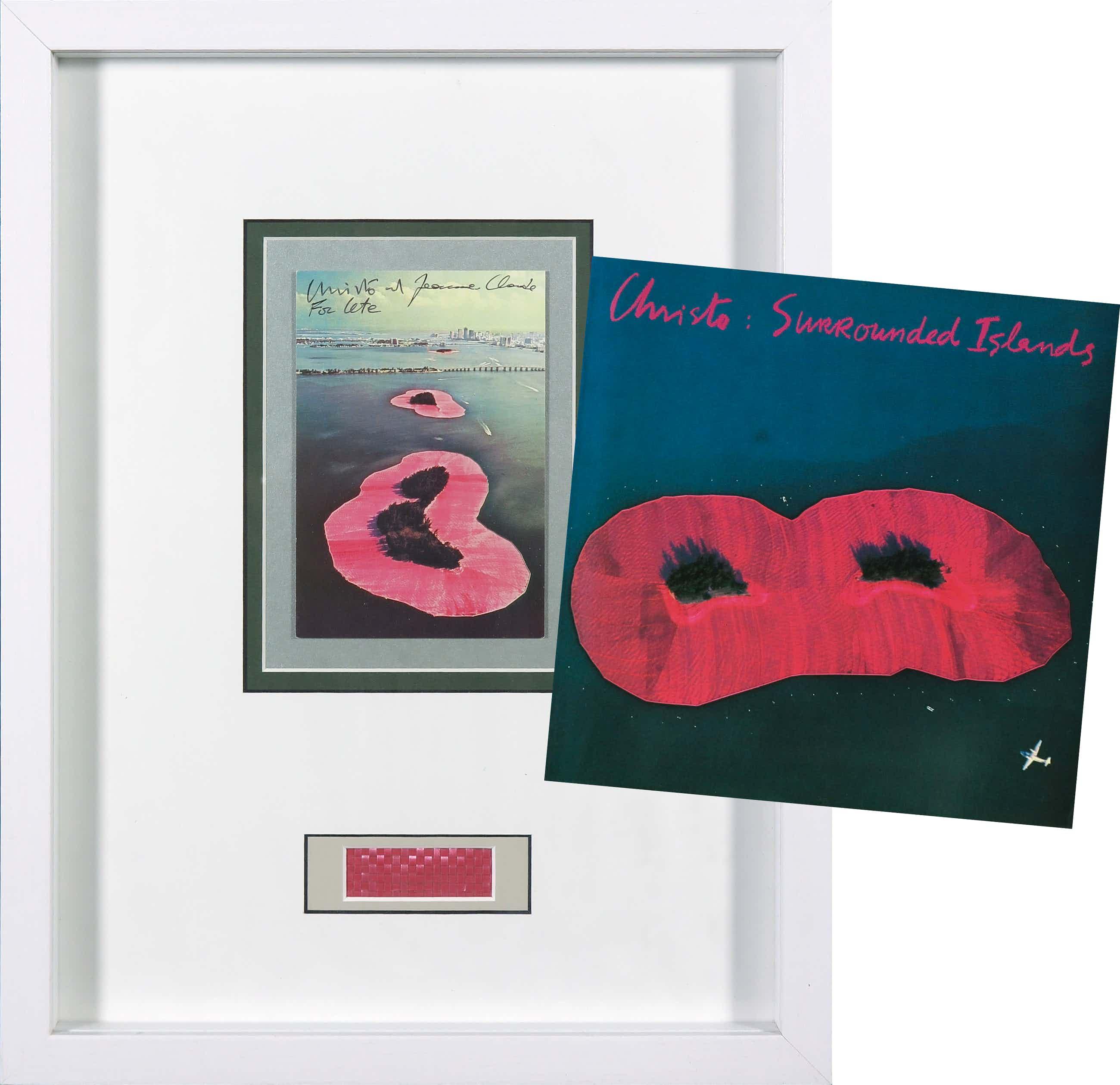 Christo - Handgesigneerde artcard Surrounded Islands + boek kopen? Bied vanaf 140!