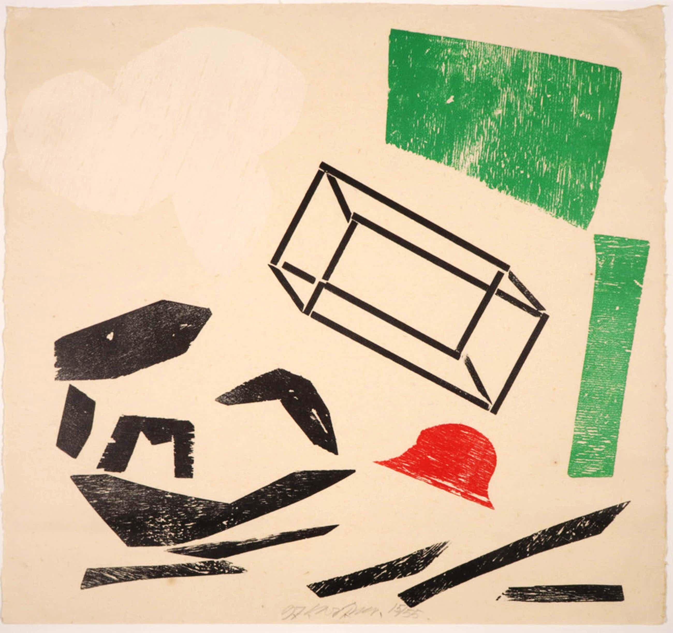 Carel Visser - Houtsnede op Japans papier, Z.T. kopen? Bied vanaf 80!