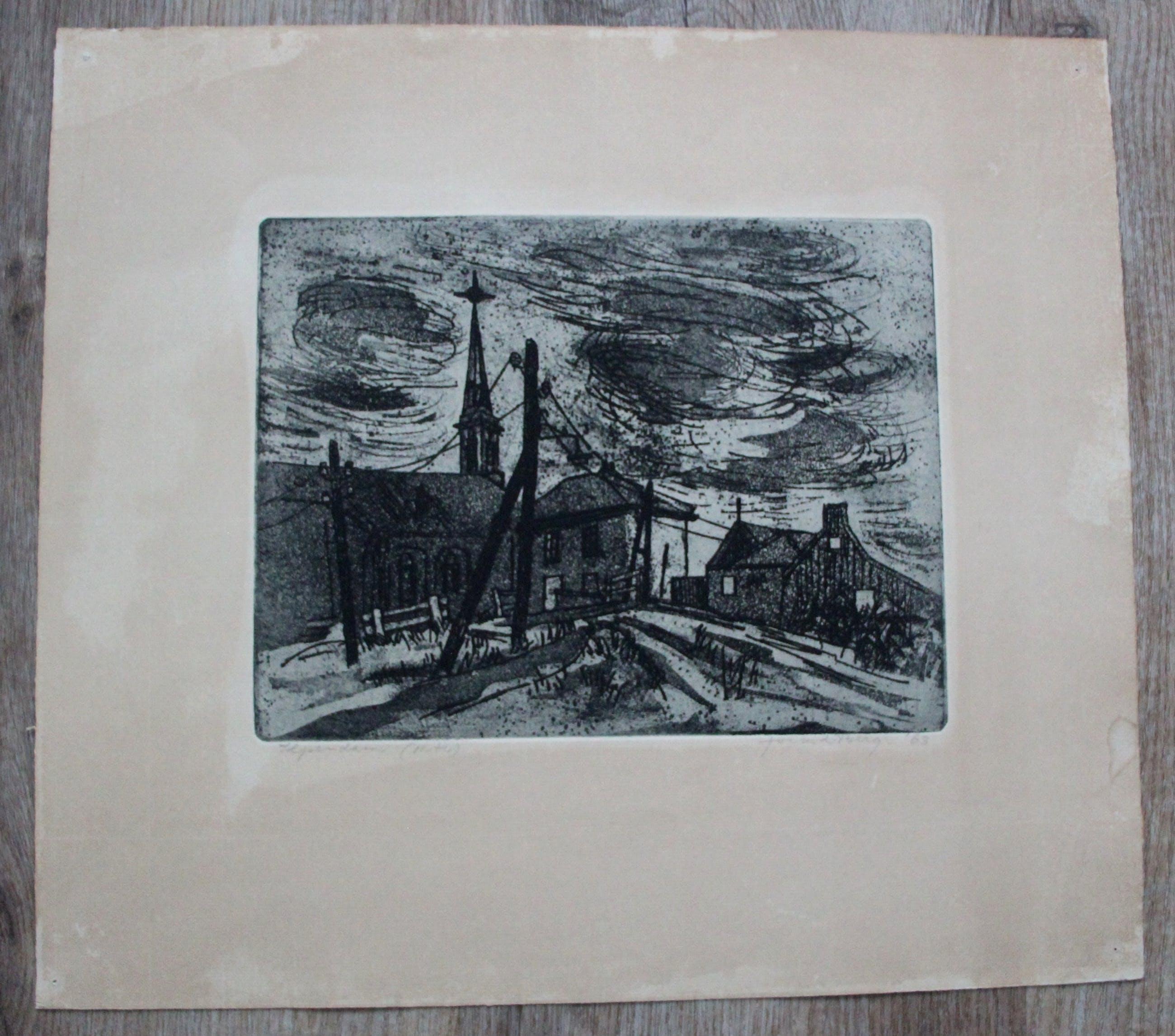 Jos van den Berg - Ets: Ilpendam(N.H) - 1963 kopen? Bied vanaf 45!