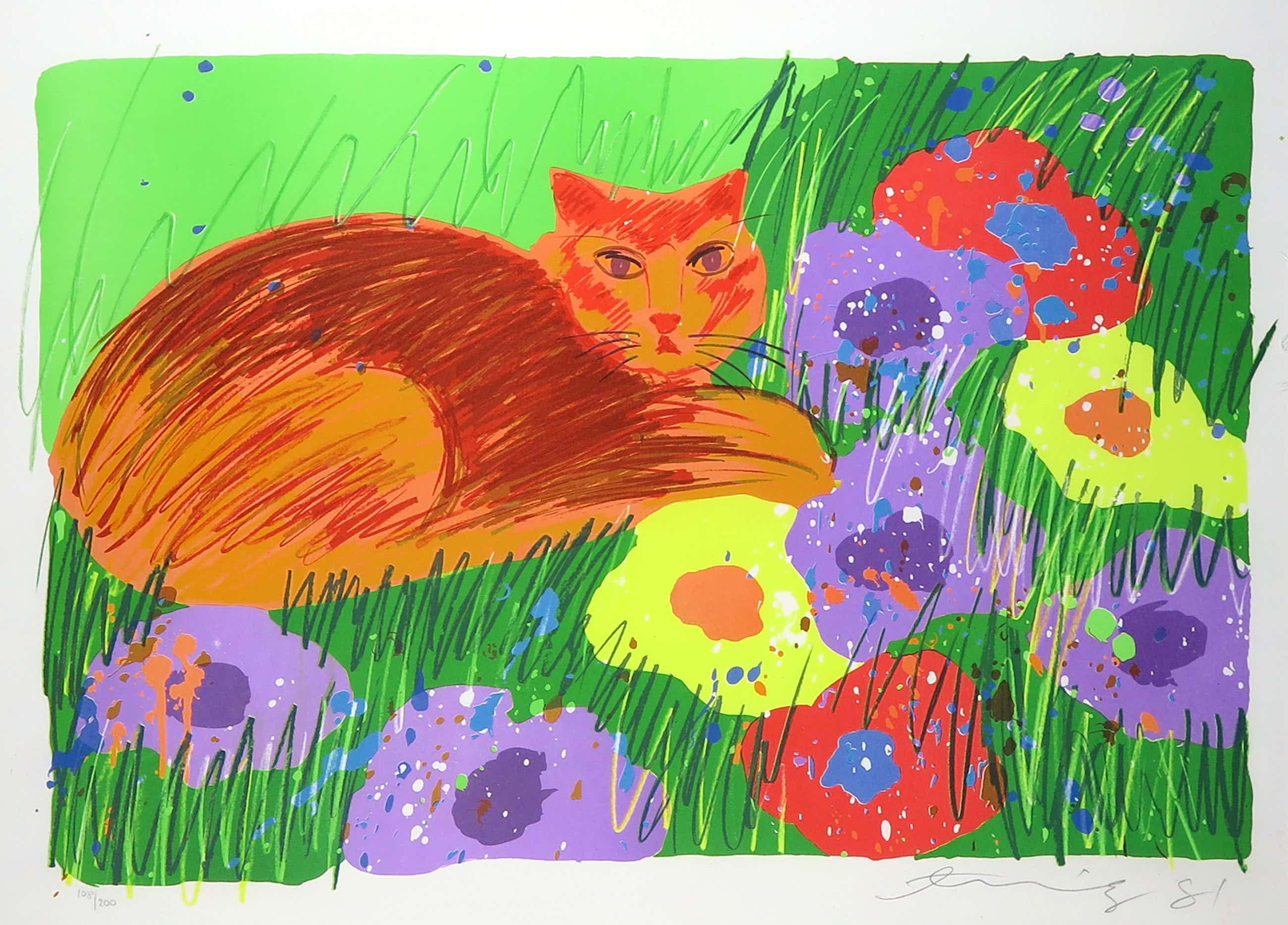 Walasse Ting - Litho, Cat in the garden - Ingelijst kopen? Bied vanaf 341!