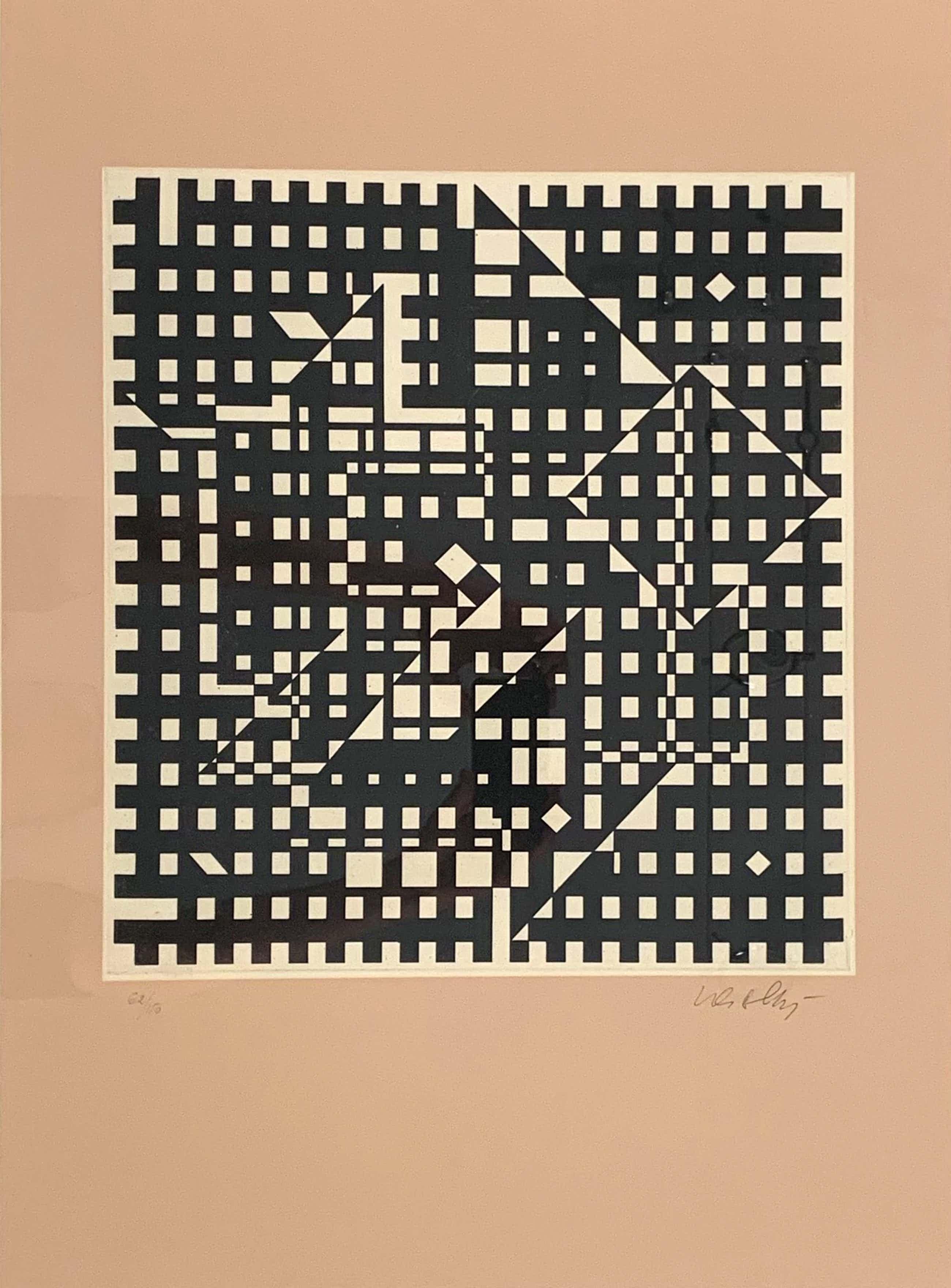 Victor Vasarely - gemengde techniek ets/zeefdruk - 'Aguia II' - 1965 (GROOT WERK) kopen? Bied vanaf 460!