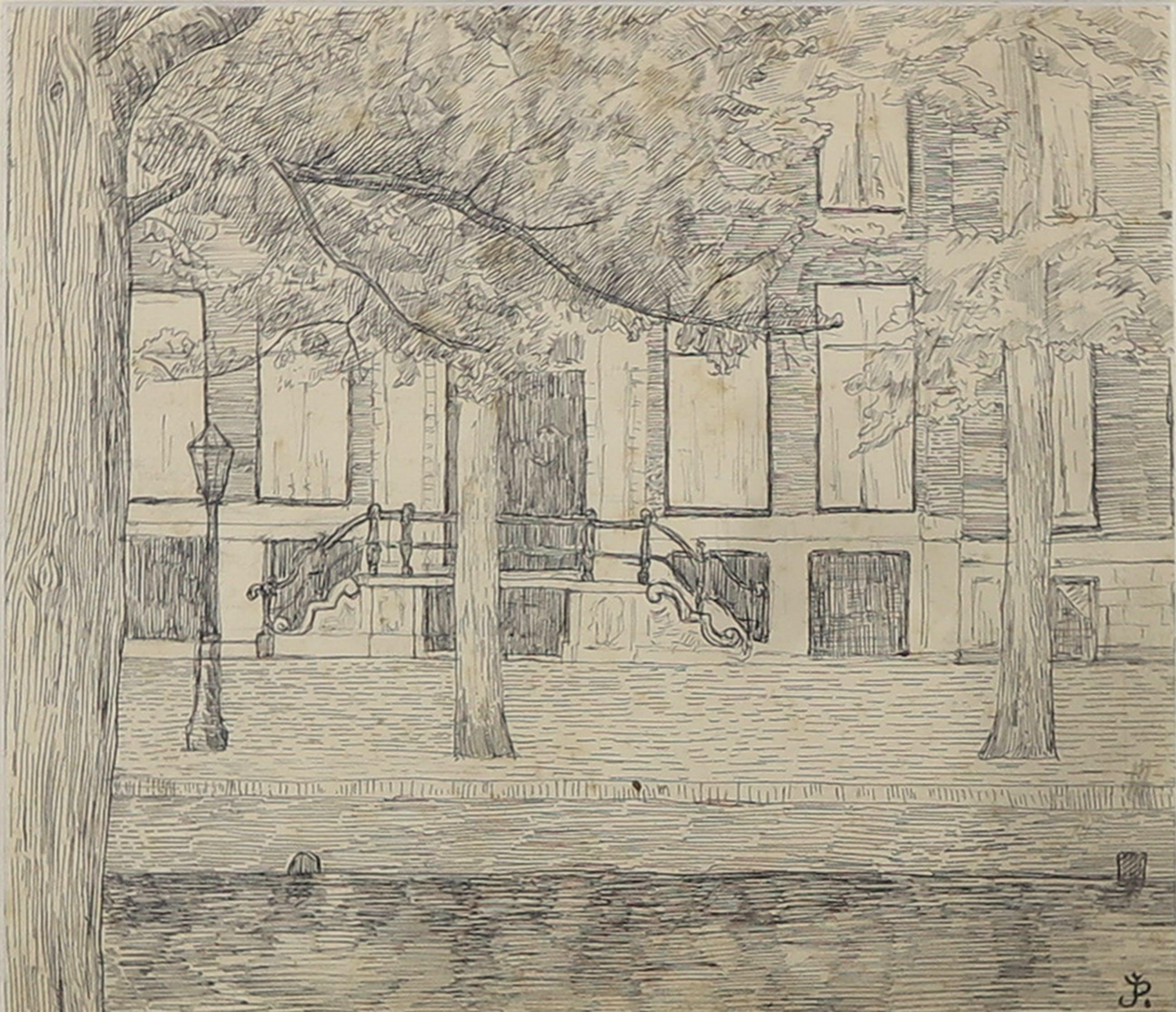 Jean Albert Pollones - Pentekening, Straat kopen? Bied vanaf 1!