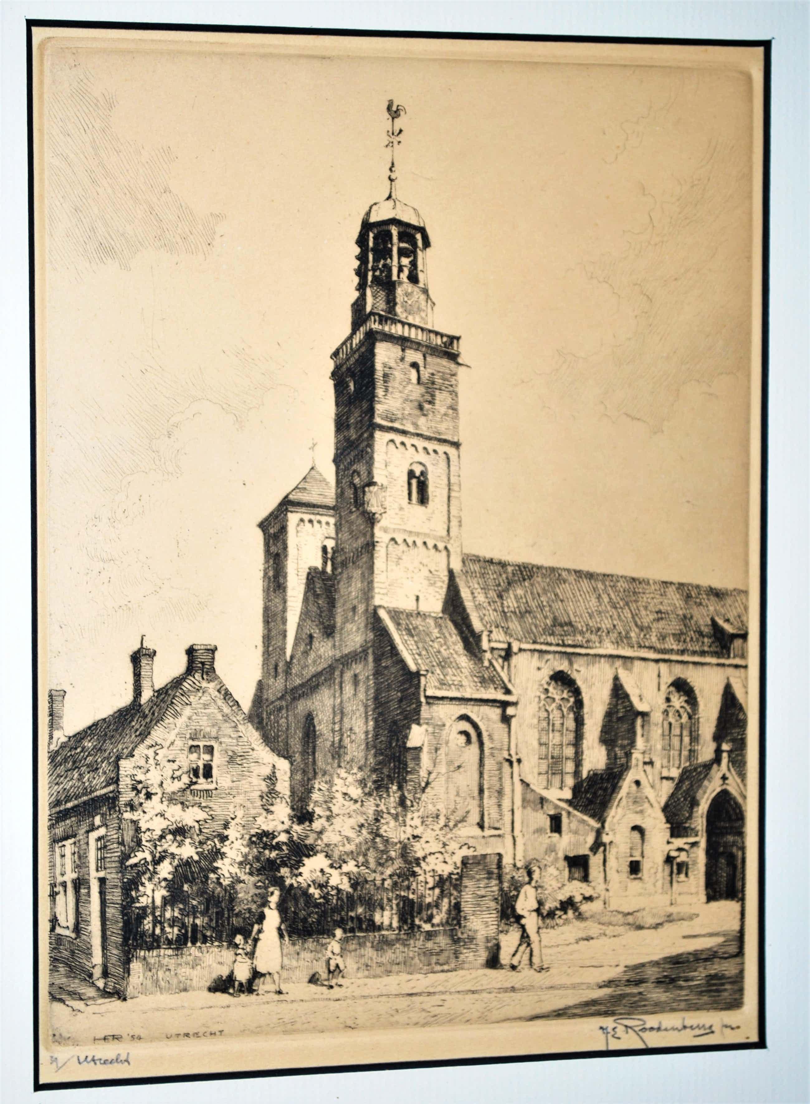 Hendrikus Roodenburg - Nicolaïkerk Utrecht - ets uit 1954 - genummerd 34 kopen? Bied vanaf 60!