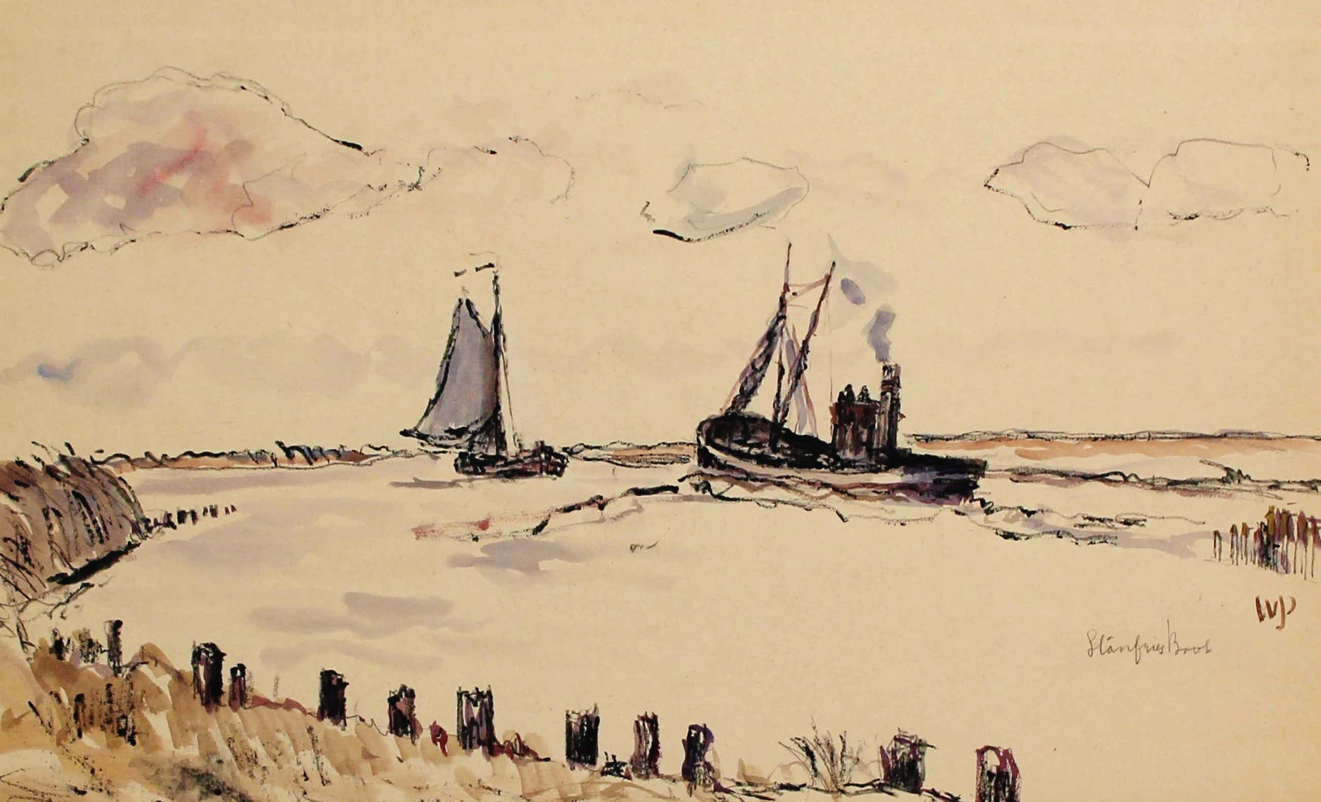 Willem Jans Dijk - Willem Jans Dijk - aquarel: Stanfriesboot kopen? Bied vanaf 75!