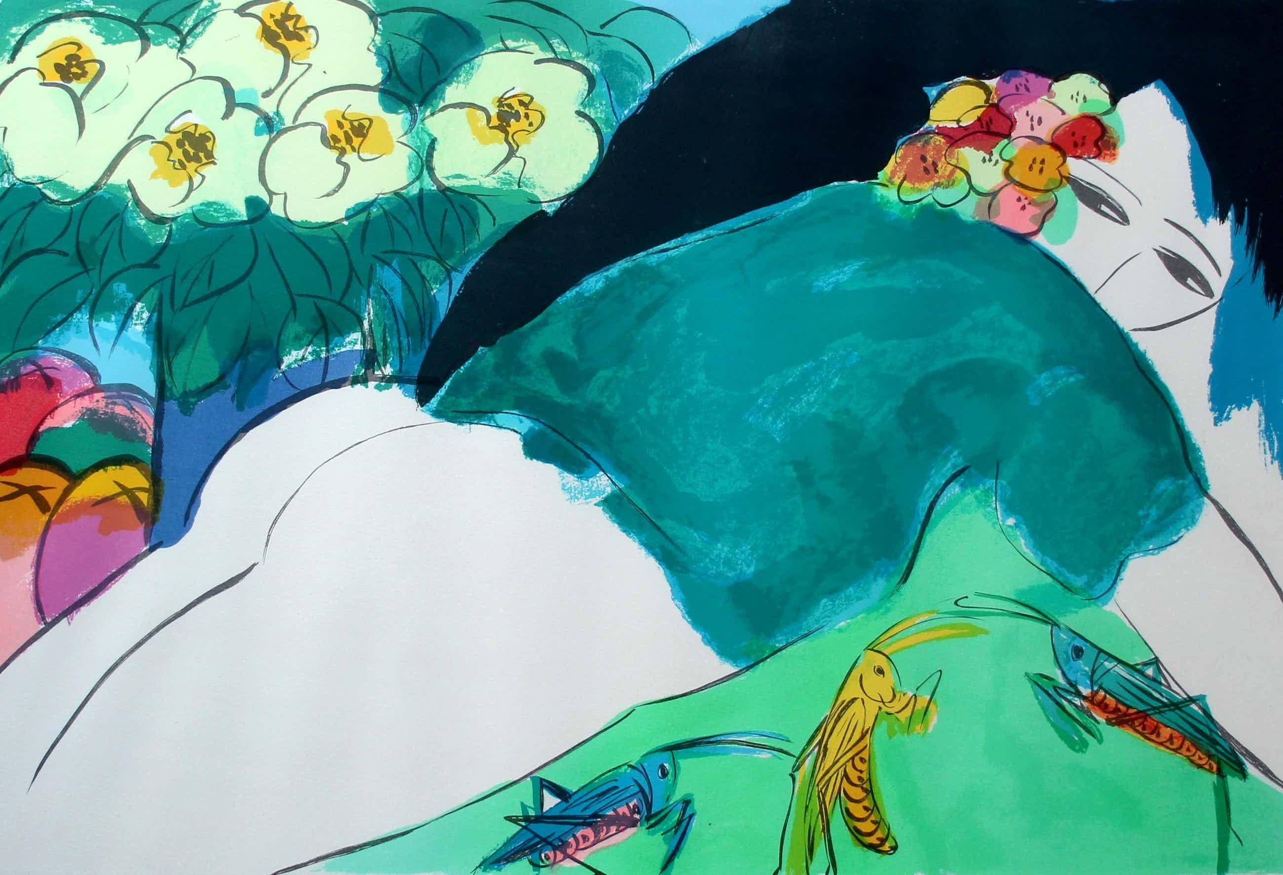 Walasse Ting - Ingelijste litho: Liggende vrouw omgeven door sprinkhanen en bloemen - 1985 kopen? Bied vanaf 575!