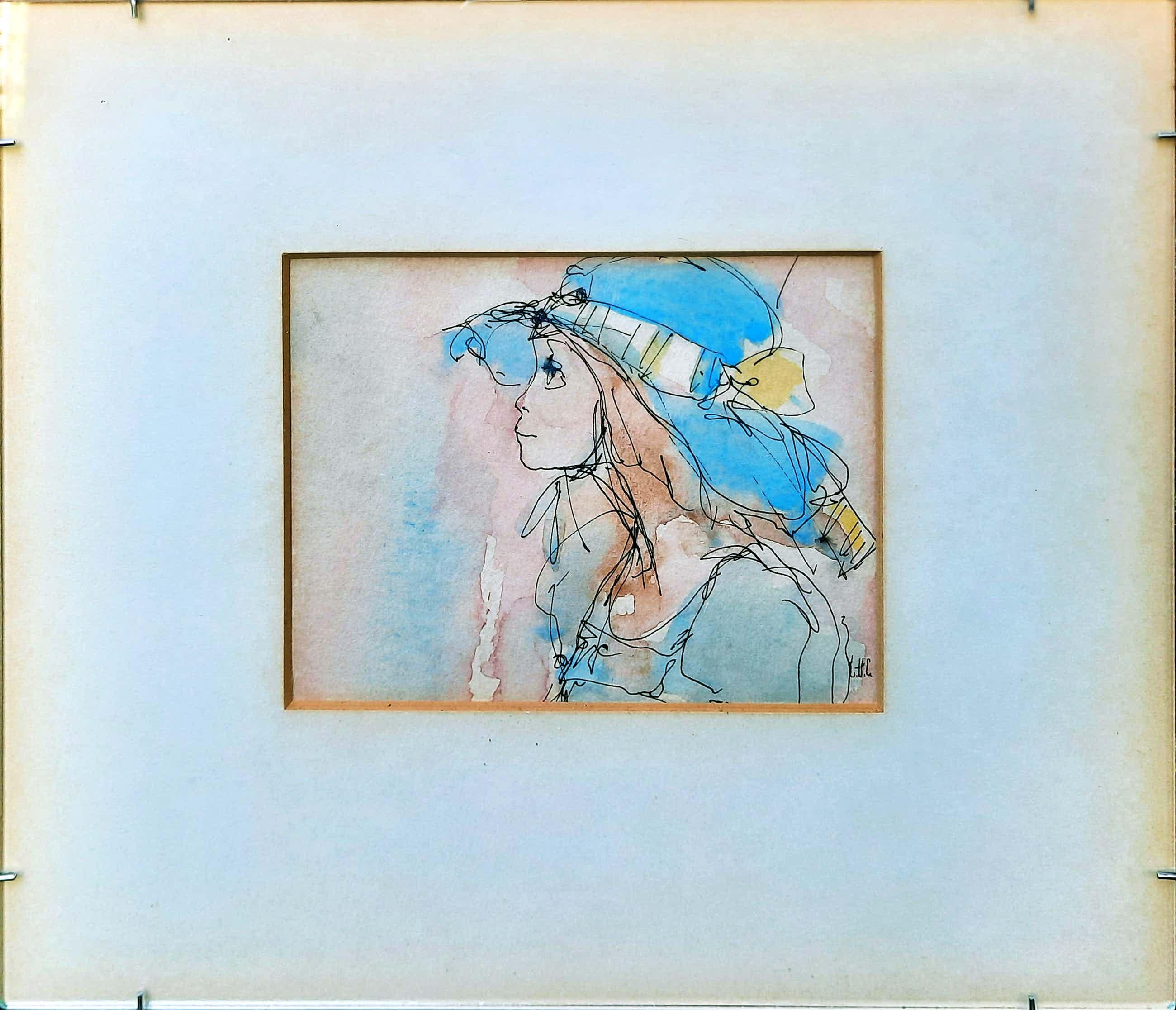 Niet of onleesbaar gesigneerd - aquarel / pentekening 'meisje met hoed' - 21018 kopen? Bied vanaf 10!