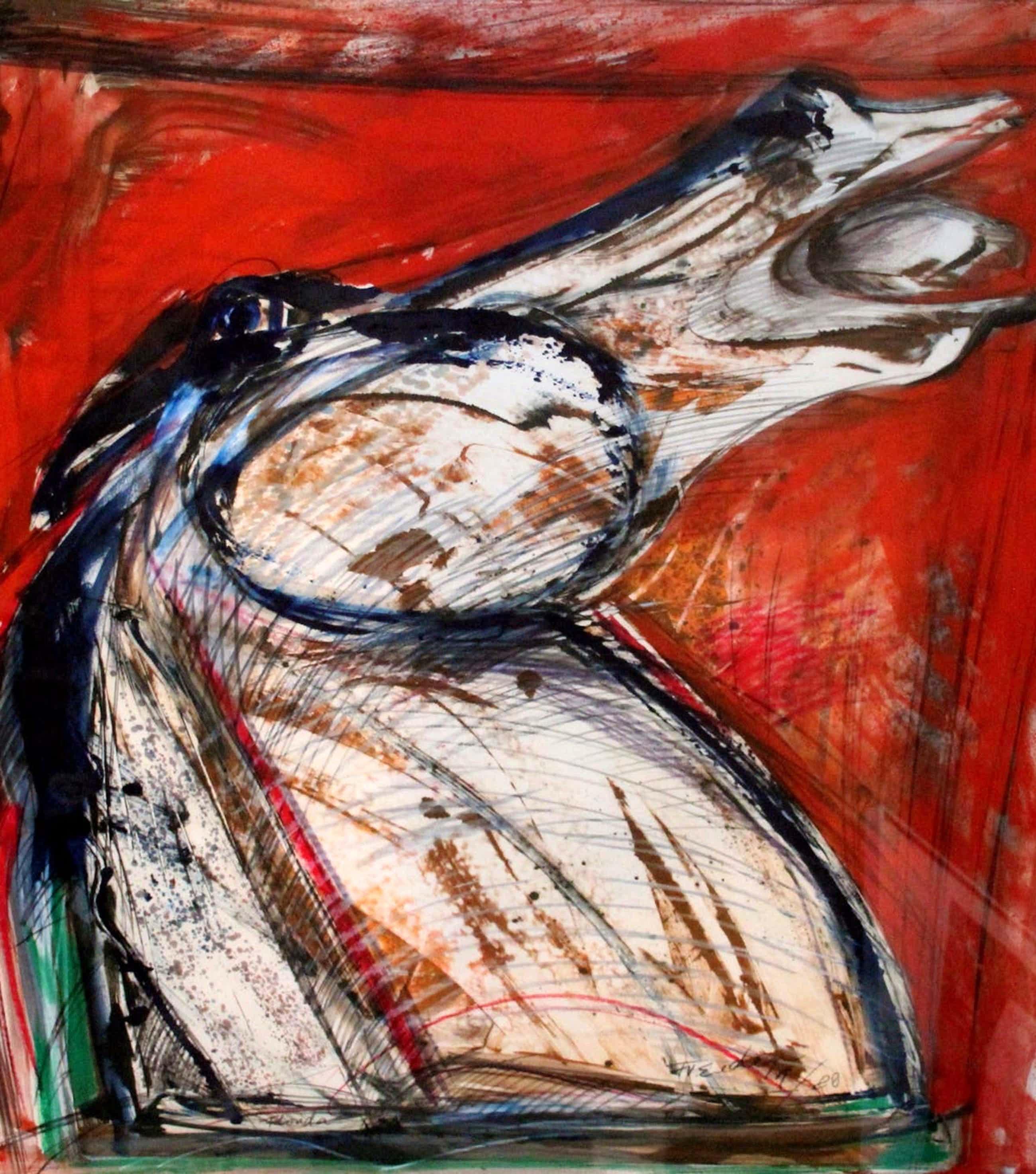 """Frits van Eeden - Potlood met aquarel: """"Florida"""" - rood paard - 1988 kopen? Bied vanaf 299!"""