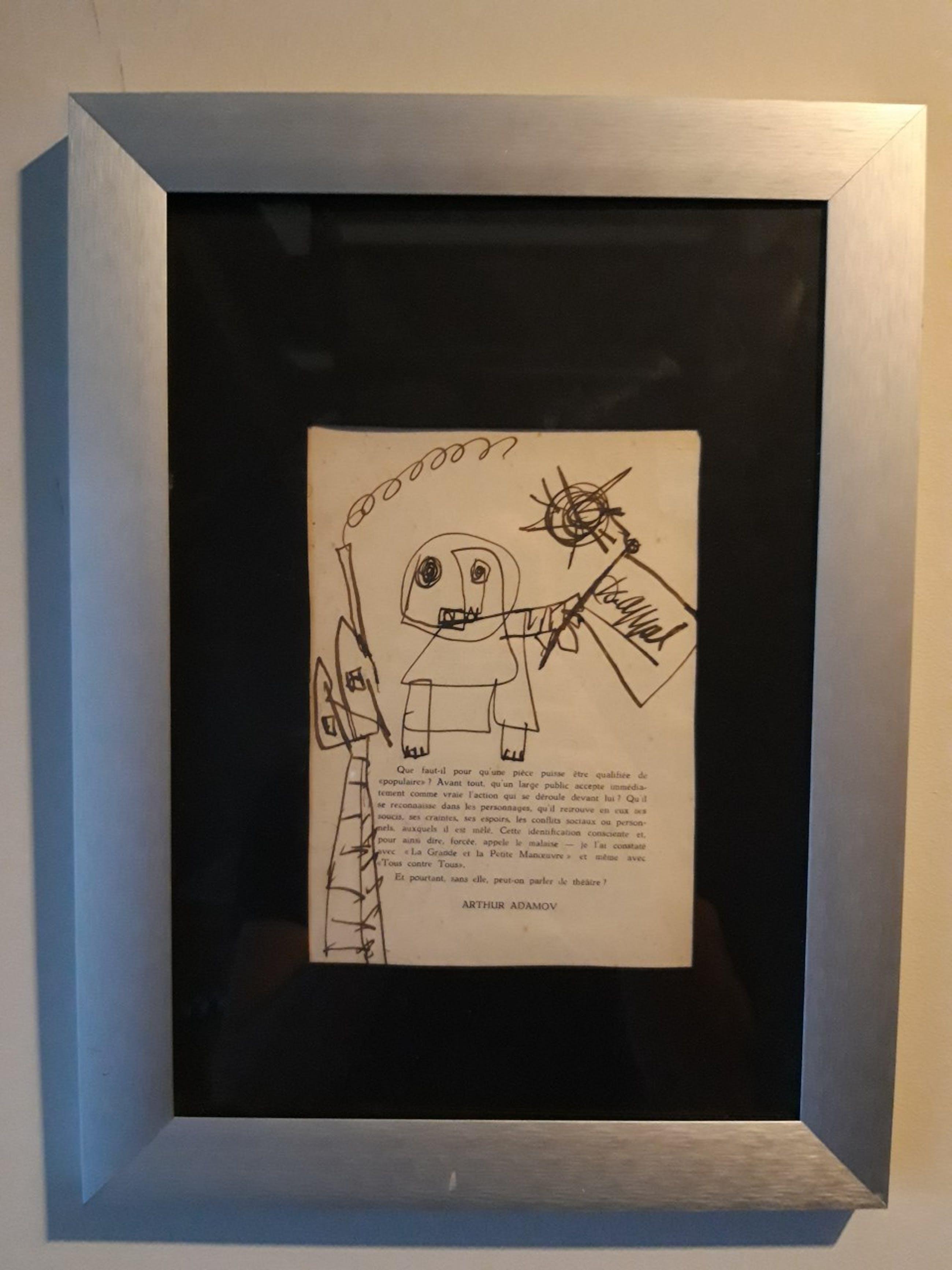 Karel Appel - tekening uit 1953, CoBrA compositie, handgesigneerd en ingelijst kopen? Bied vanaf 999!